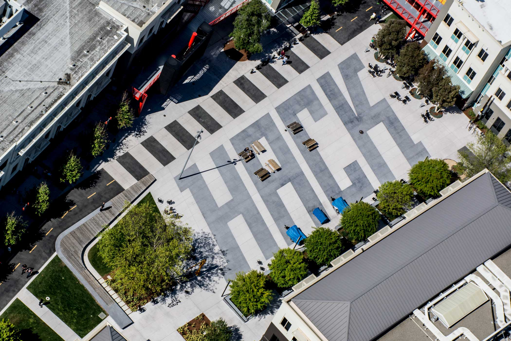"<strong>Main Headquarters: </strong>After encouragement from Facebook founder Mark Zuckerberg to decorate their headquarters, the word ""hack"" was designed into the outdoor landscaping."