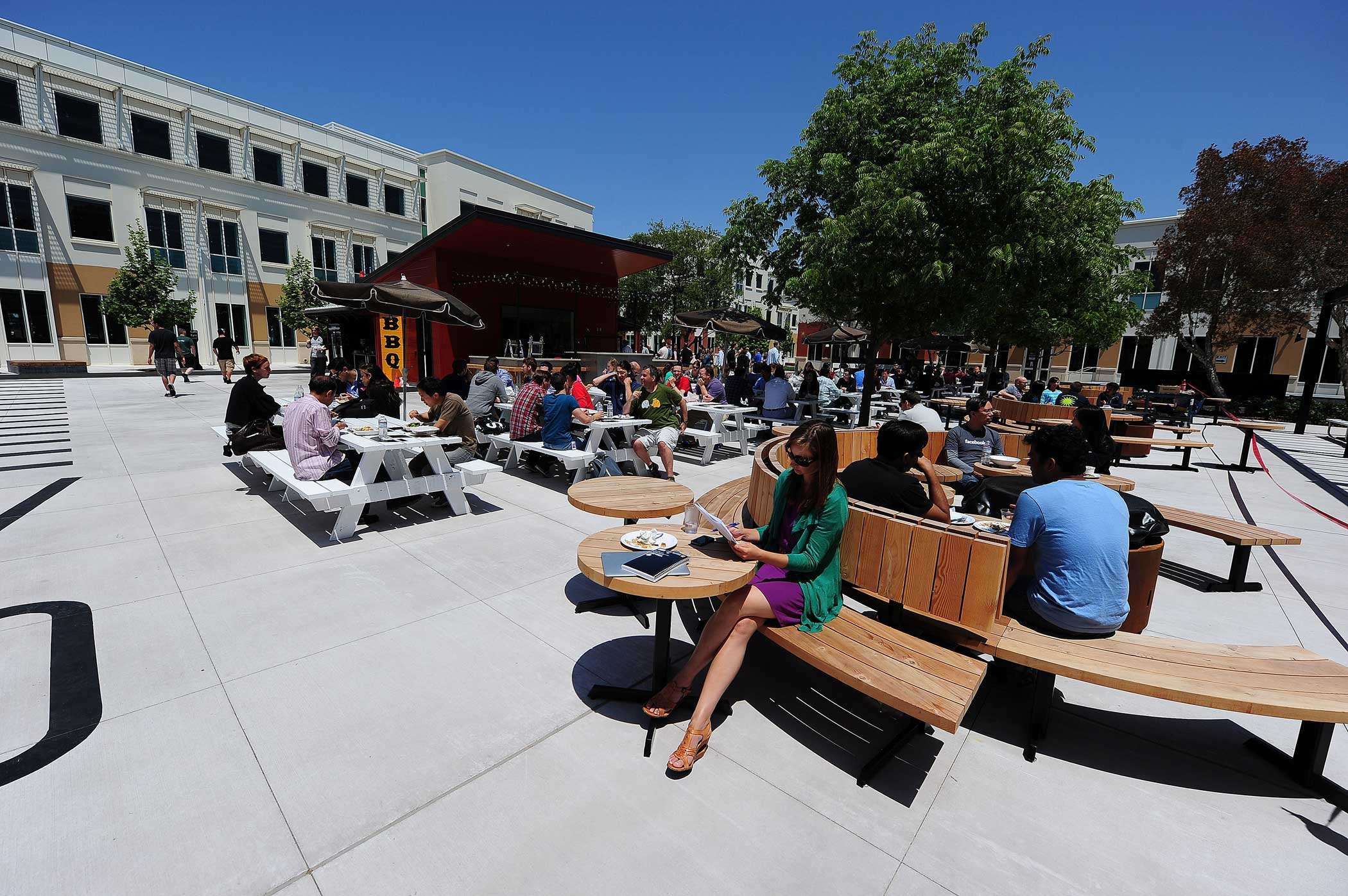 <strong>Main Headquarters: </strong>A general view of the outdoor lunch and relaxtion area at Facebook's main campus.