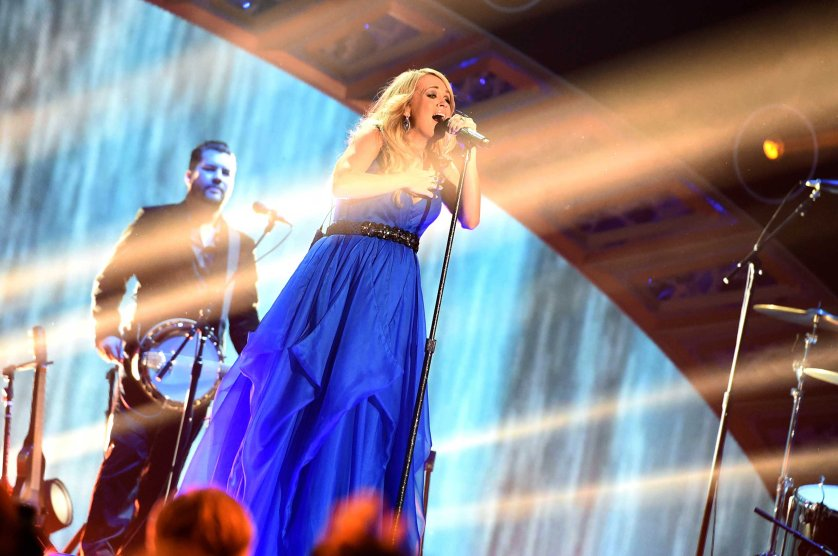 Carrie Underwood performs at the 2014 American Country Countdown Awards at Music City Center in Nashville on Dec. 15, 2014.