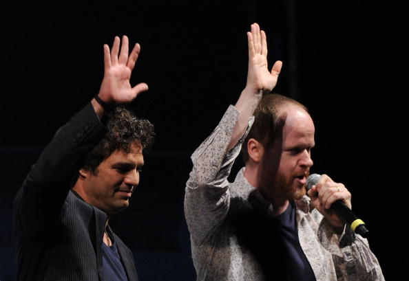Actor Mark Ruffalo, left, and writer/director Joss Whedon pose onstage at the Marvel Studios'  Captain America: The First Avenger  panel during Comic-Con 2010 at San Diego Convention Center on July 24, 2010 in San Diego, Calif.