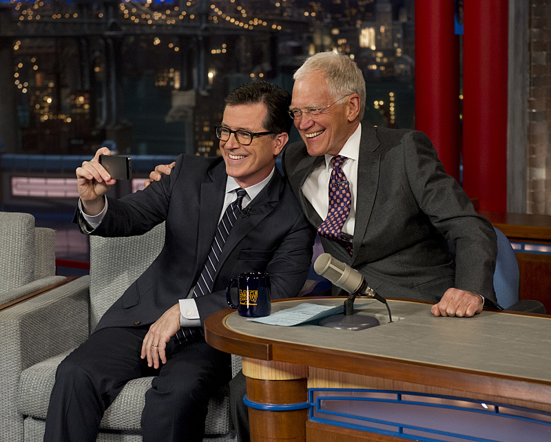 Colbert visits with Letterman in April.