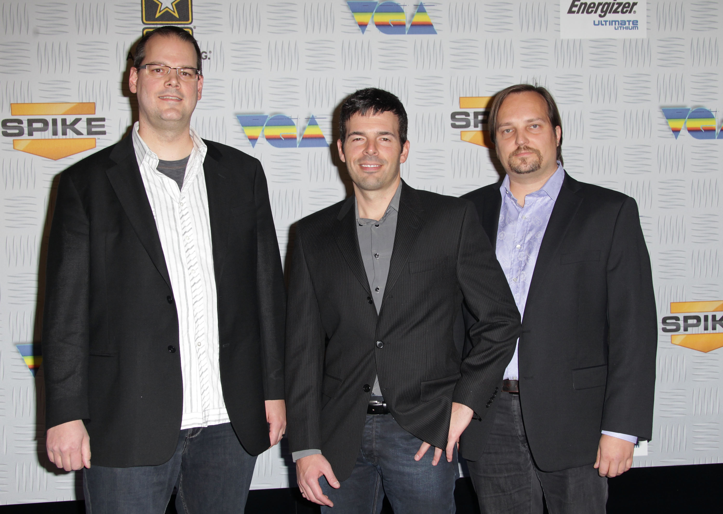 BioWare co-founder Ray Muzyka, Mass Effect 2 executive producer Casey Hudson, and  BioWare co-founder Greg Zeschuk at Spike TV's  2010 Video Game Awards  held at the LA Convention Center on December 11, 2010 in Los Angeles, California.