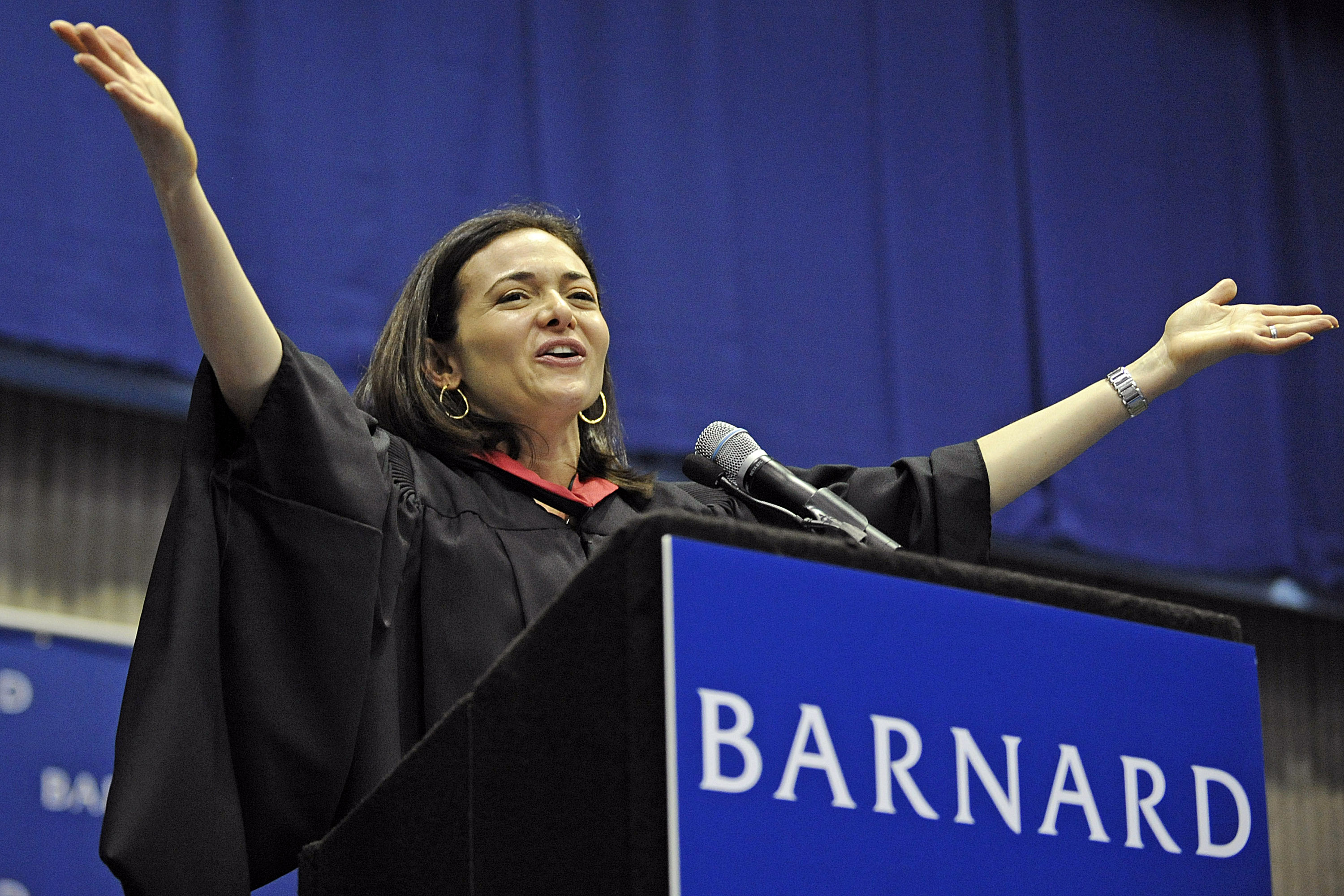 Sheryl Sandberg, chief operating officer of Facebook Inc., speaks at the Barnard College commencement ceremony in New York, U.S., on Tuesday, May 17, 2011.
