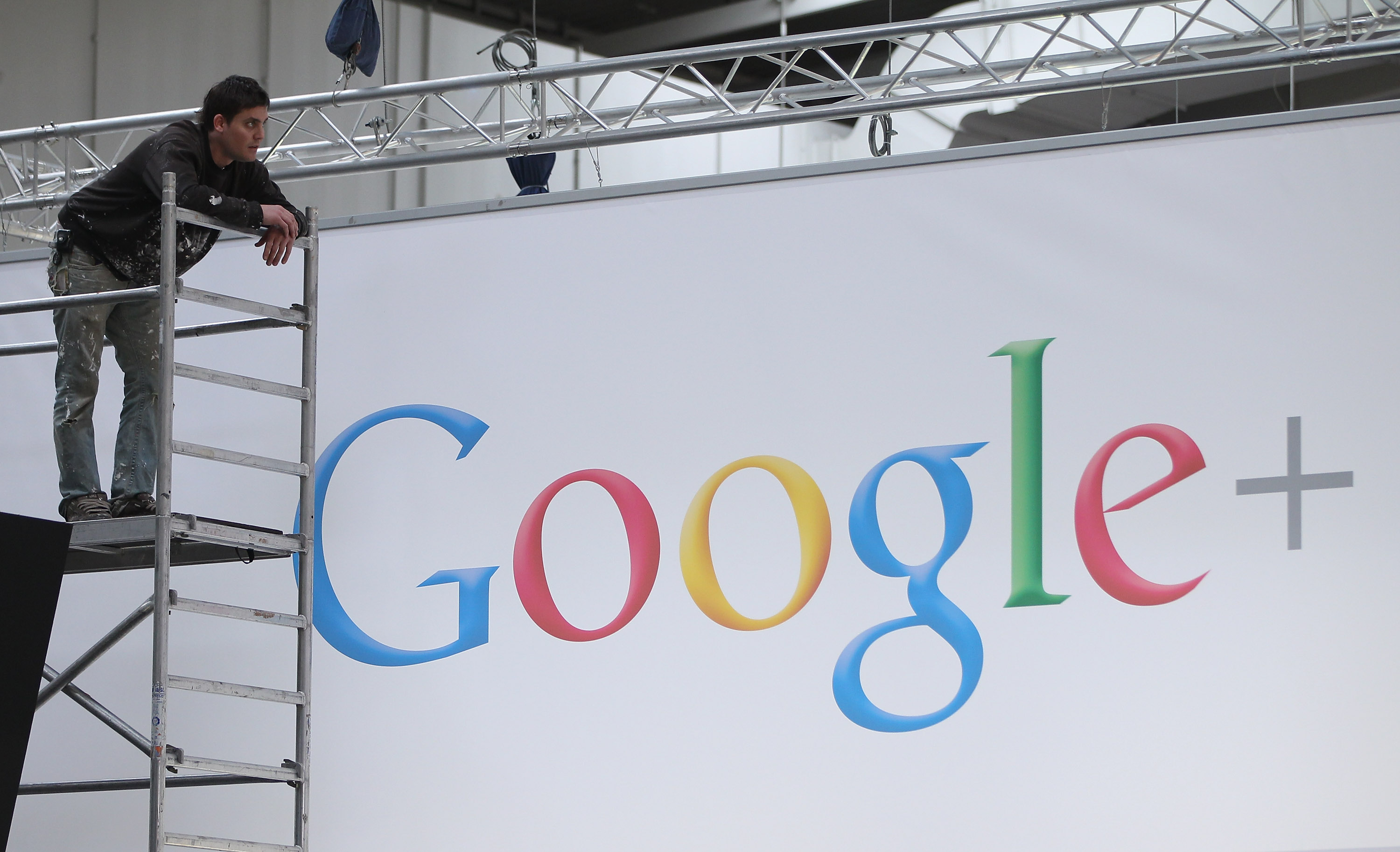 A worker prepares the Google stand the day before the CeBIT 2012 technology trade fair officially opens to the public on March 5, 2012 in Hanover, Germany.