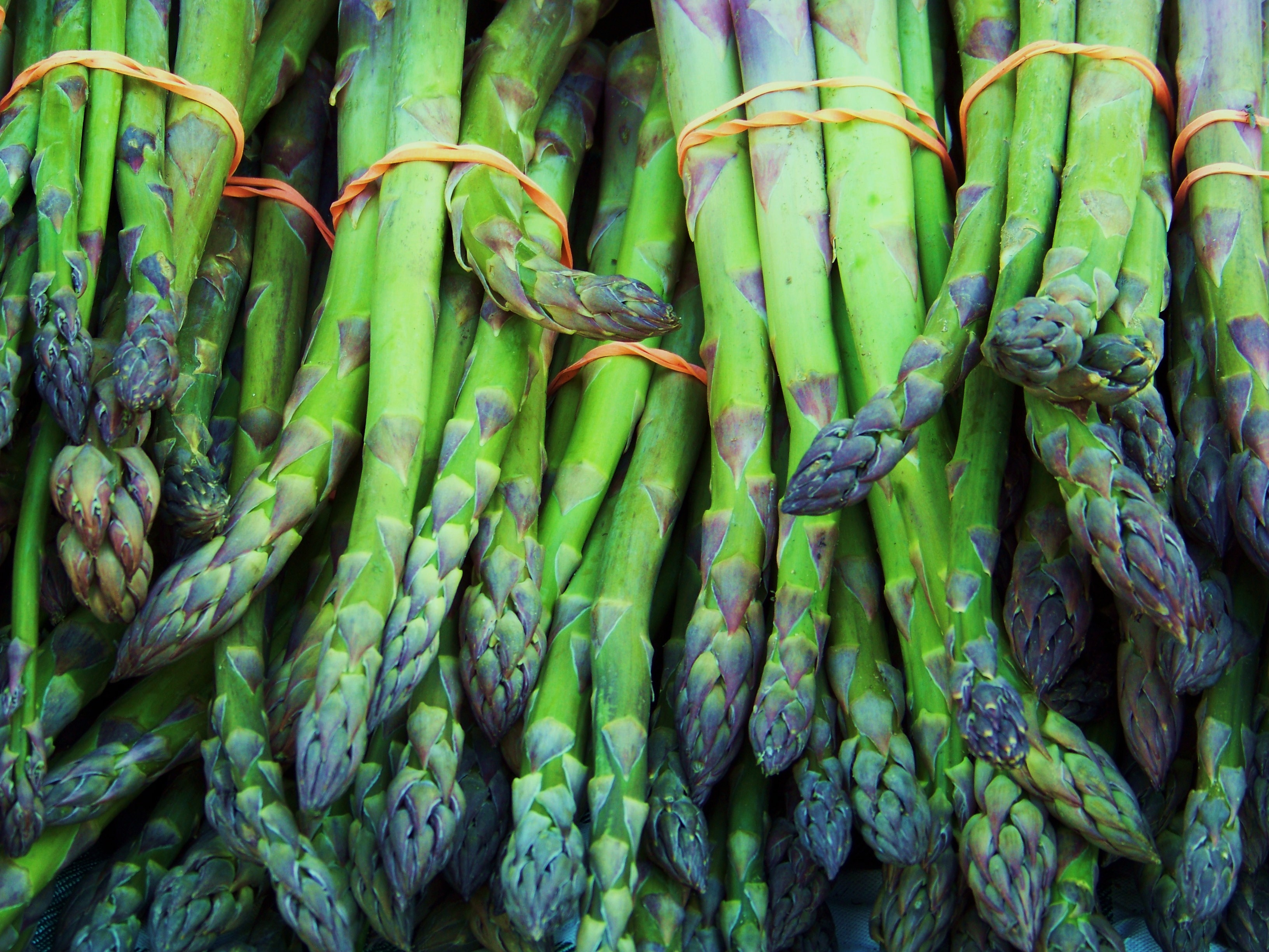 In early summer you can get nice and thick asparagus spears, which provide more snap and crunch than the thin ones.