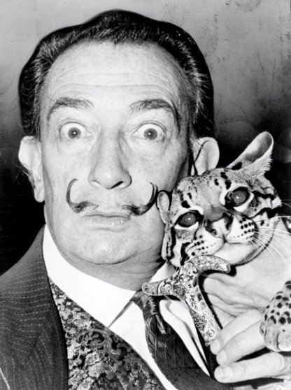 Artist Salvador Dali and his ocelot, Babou.