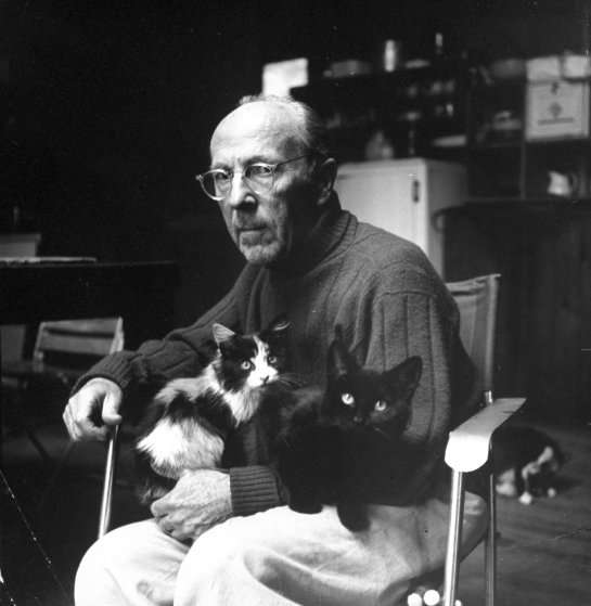 Photographer Edward Weston with two of his cats ,1960.