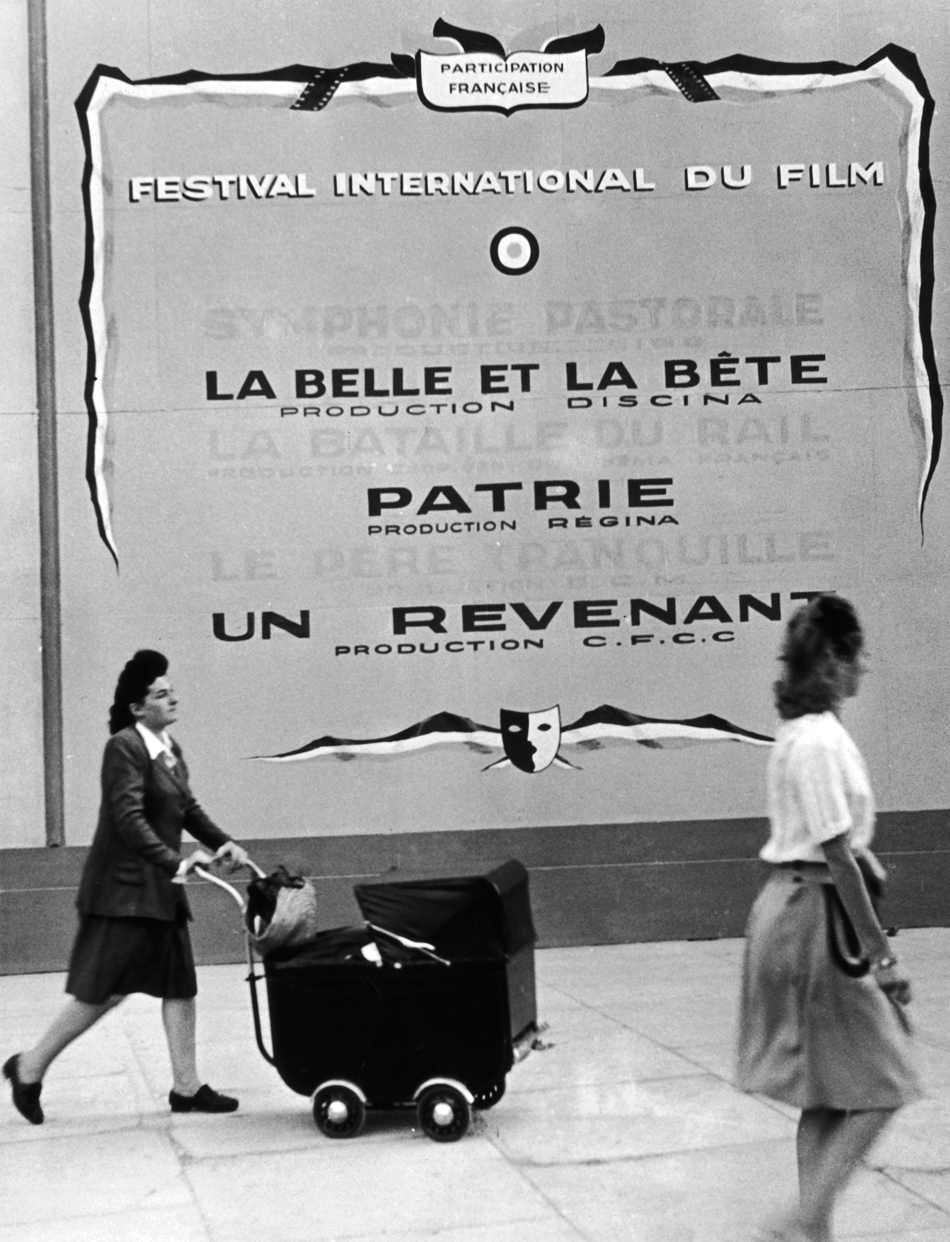 Poster presenting the french films in the competition of the 1st Cannes Film Festival in Cannes, France in 1946.
