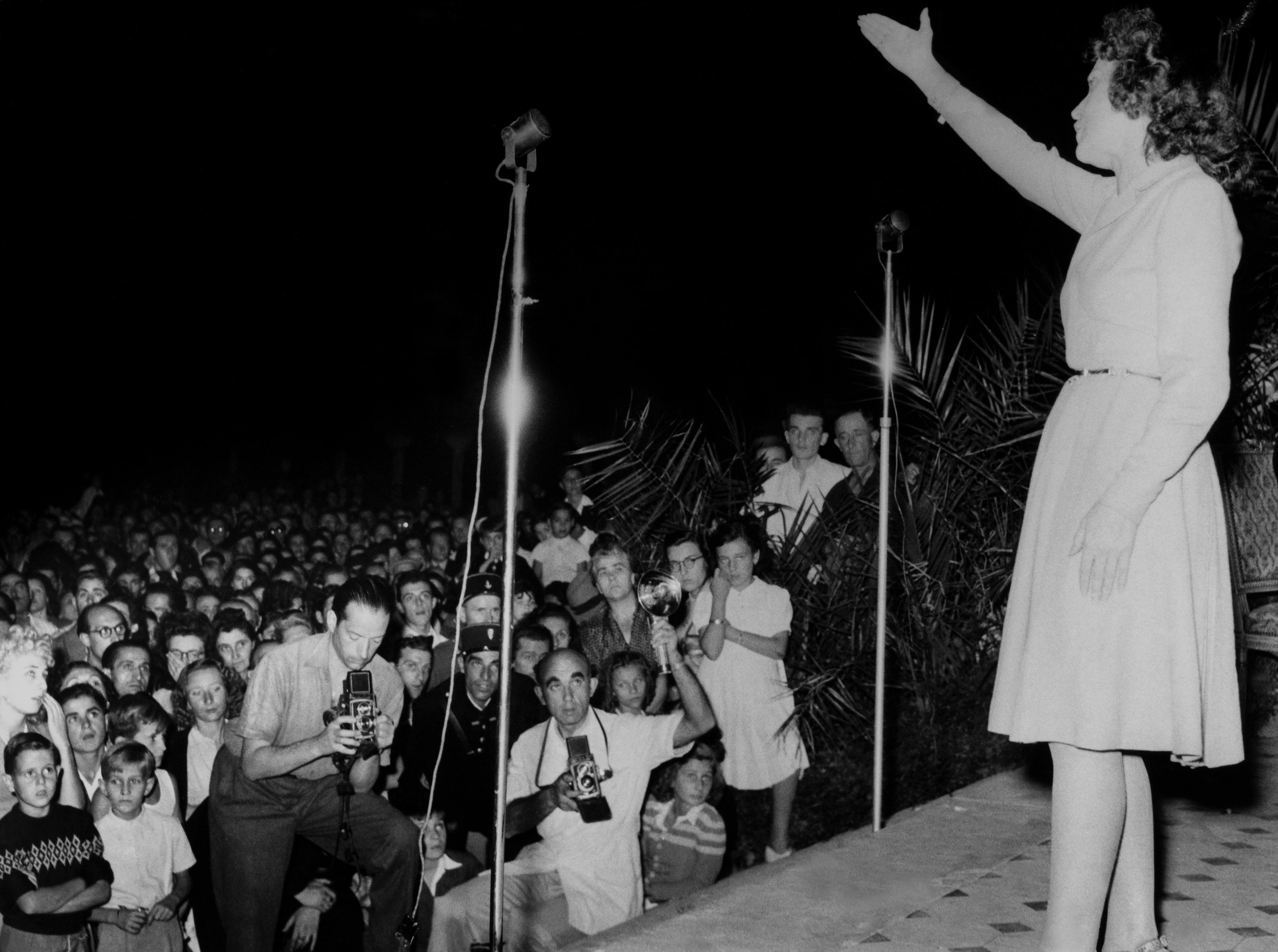 Edith Piaf on the Carlon Hotel's Terrace at the first Cannes Film Festival in Cannes, France In 1946.