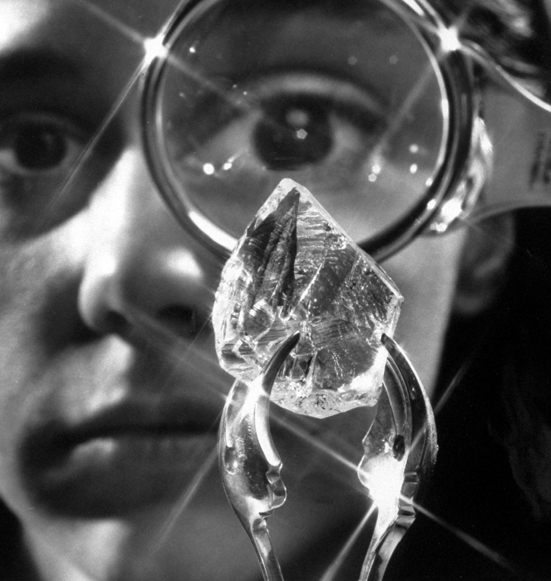 An 80-carat uncut diamond from Tiffany's, seen in 1969.
