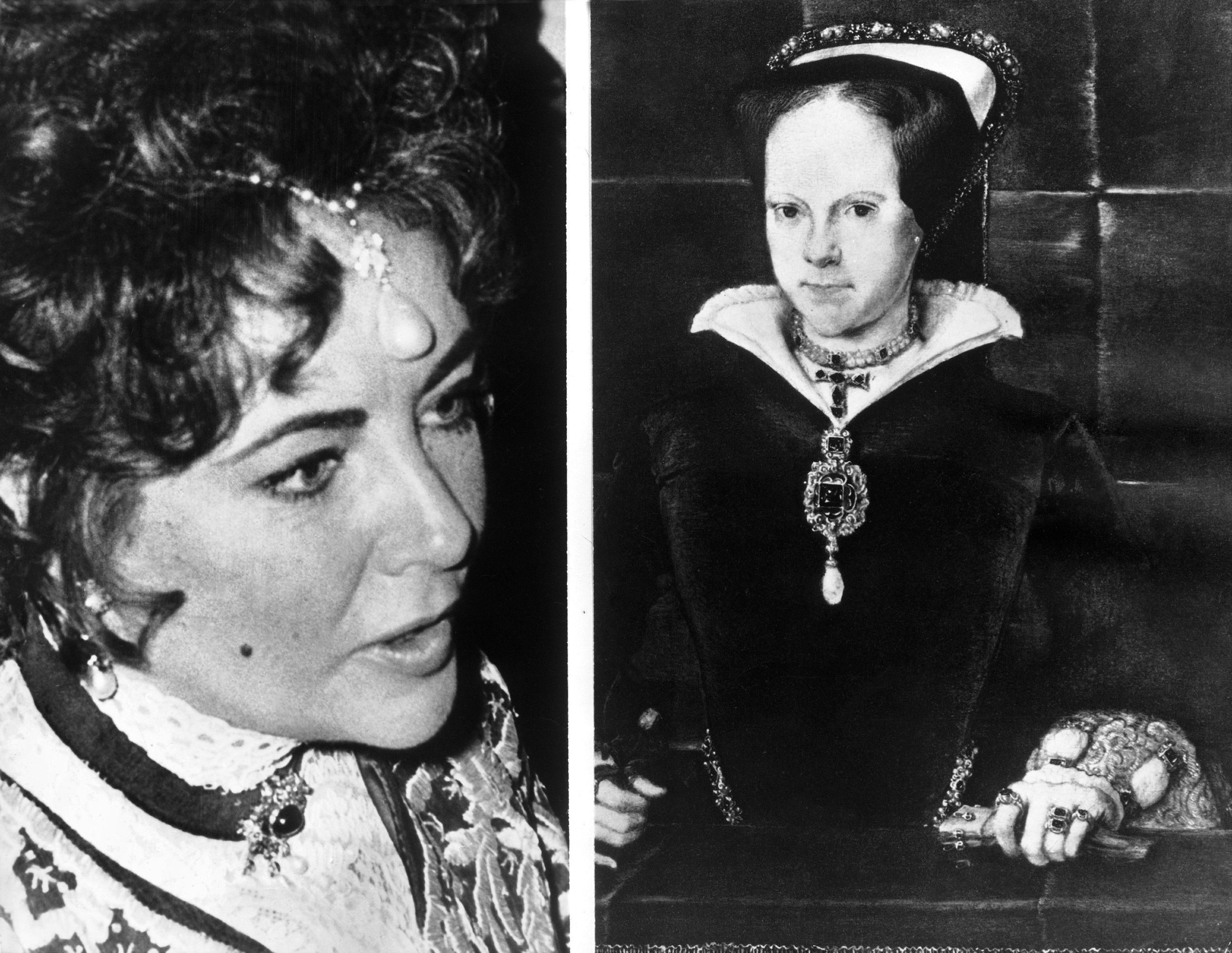 On November 9, 1971, while the painting by Hans Eworth (right) representing the Queen of England Mary Tudor is sold at Sotheby's in London, the American actress Elizabeth Taylor wears the Queen's pearls around her neck and on her forehead during a party in Paris. This jewel is named La Peregrina; Philip of Spain gave the pearl to Mary Tudor in 1554.