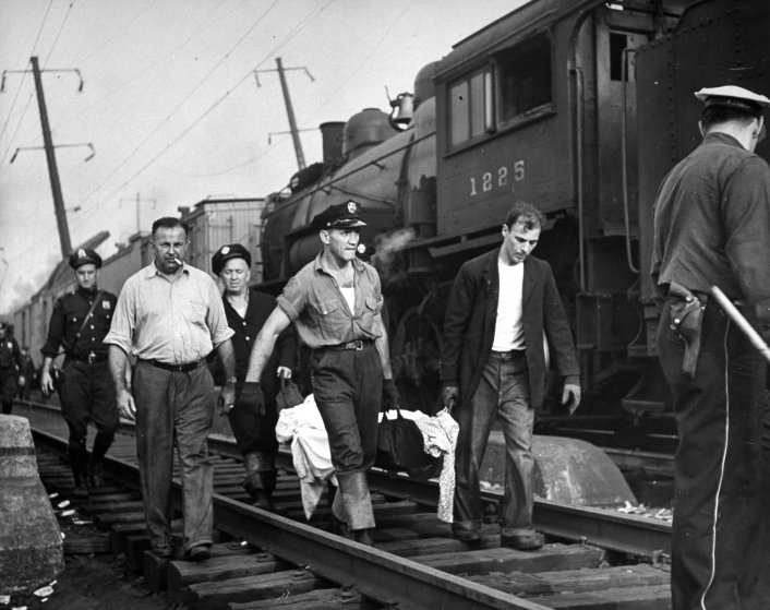 Scene from the 1943 Congressional Limited train wreck in Philadelphia.