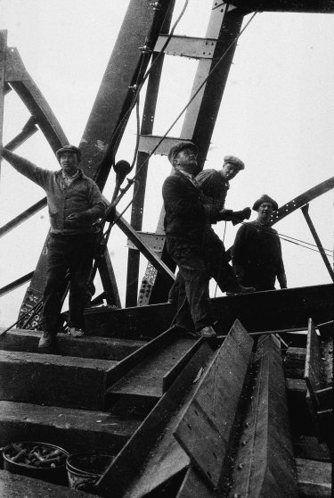 A group of construction workers assemble steel beams during the erection of the Chrysler Building, New York City, 1929.