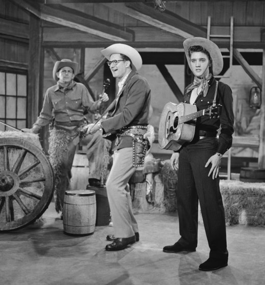 The Tonight Show starring Steve Allen, July 1 1956: (l-r) Andy Griffith, Steve Allen, and Elvis Presley perform a parody of Country & Western television shows
