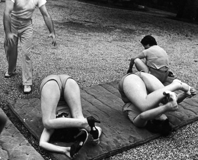 Scene from Rose Dor Farms, a weight loss camp, 1938.