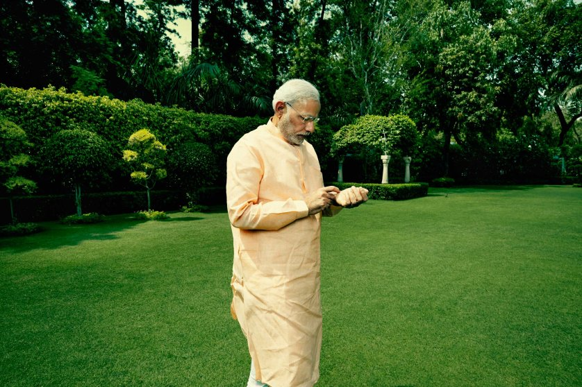 Indian Prime Minister Narendra Modi in the garden at his official residence in New Delhi, India. May 2, 2015.