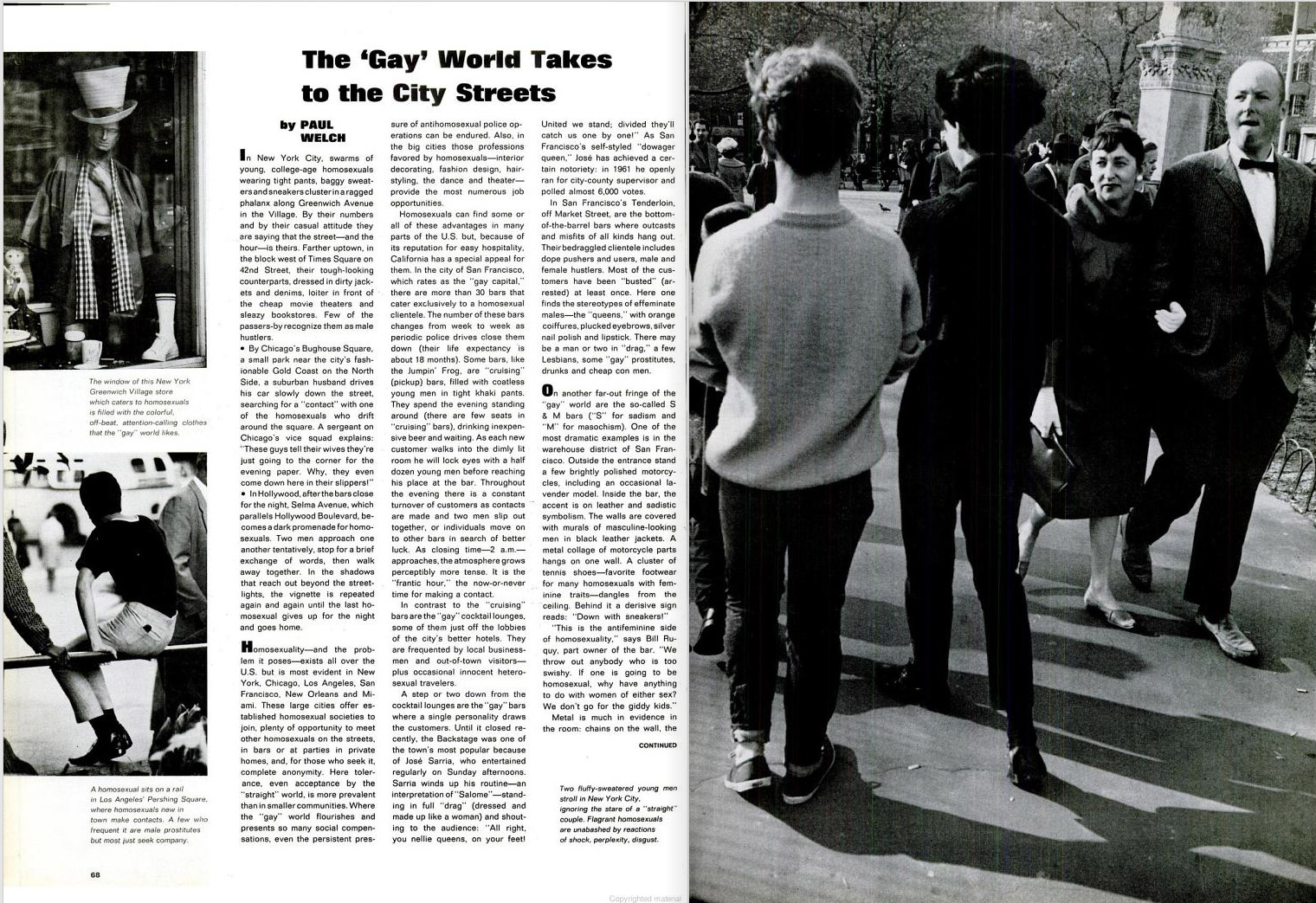 "June 26, 1964 issue of LIFE magazine. Caption for full-page photo reads: ""Two fluffy-sweatered young men stroll in New York City, ignoring the stare of a 'straight' couple. Flagrant homosexuals are unabashed by reactions of shock, perplexity, disgust."""