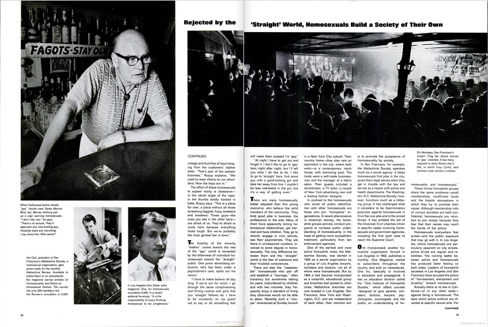 "June 26, 1964 issue of LIFE magazine. Caption for top left photo reads: ""When Hollywood police closed 'gay' haunts near Santa Monica Blvd. bar, Barney Anthony put up a sign warning homosexuals. 'I don't like 'em,' he says. 'There's no excuse. They'll approach any nice-looking guy. Anybody does any recruiting, I say shoot him. Who cares?'"""