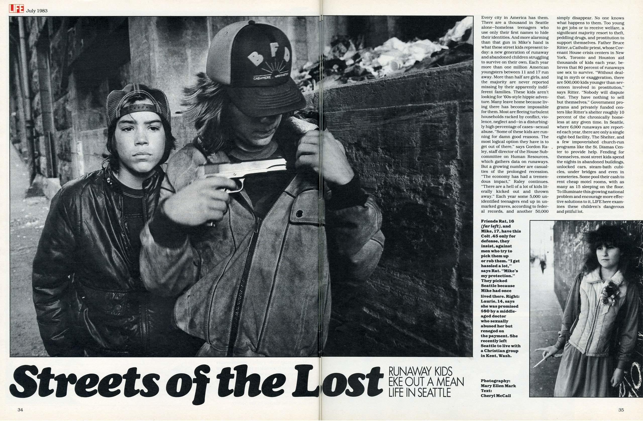 """Streets of the Lost: Runaway Kids eke out a mean life in Seattle""—LIFE magazine, July 1983."
