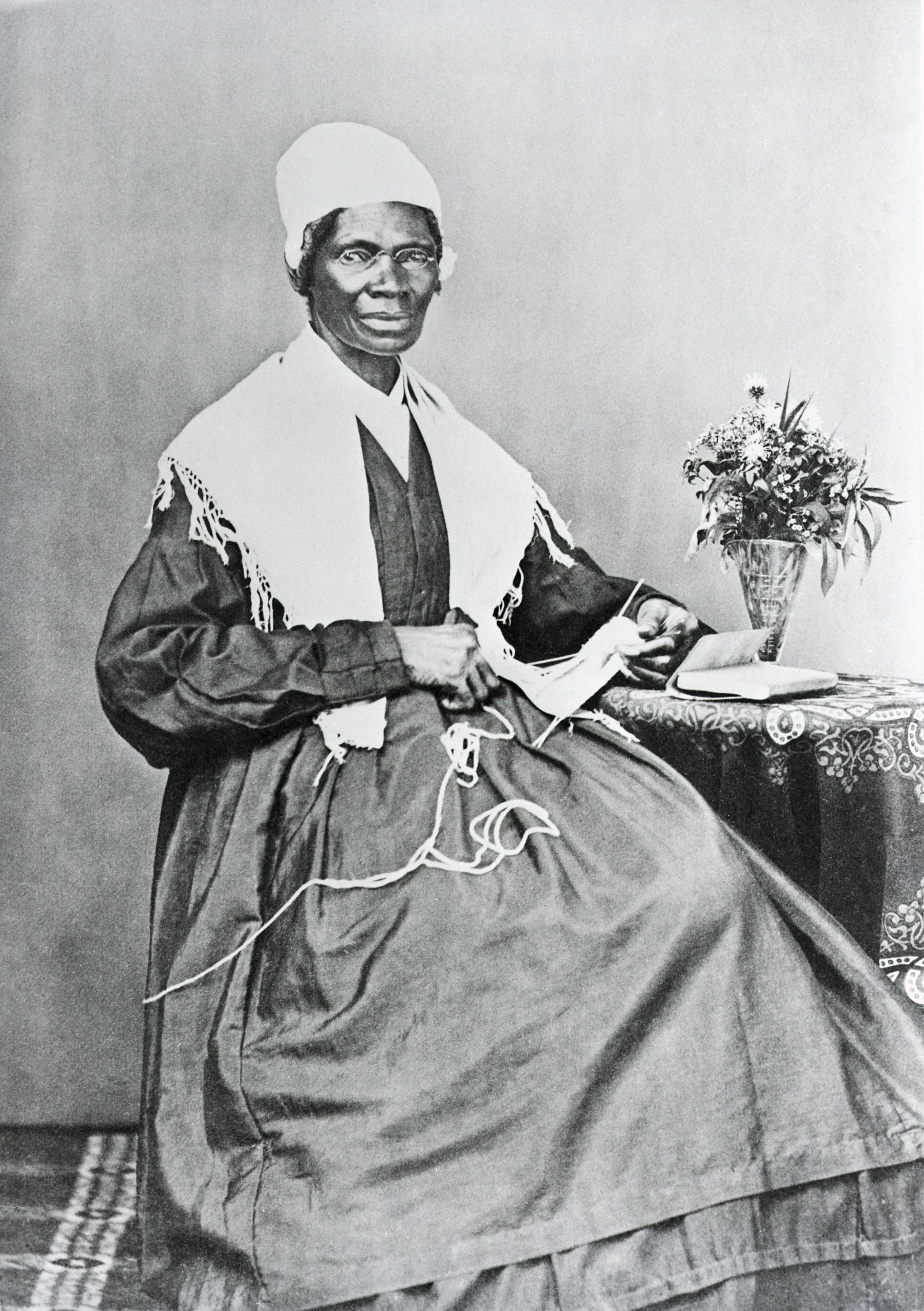 "Sojourner Truth (1797-1883), pictured circa 1880. Truth, whose legal name was Isabella Van Wagener, was born into slavery but later freed. She worked as an abolitionist, suffragette, and evangelist. She was well known for the speech ""Ain't I a Woman?"" that she delivered at the 1851                                   Women's Rights Convention."
