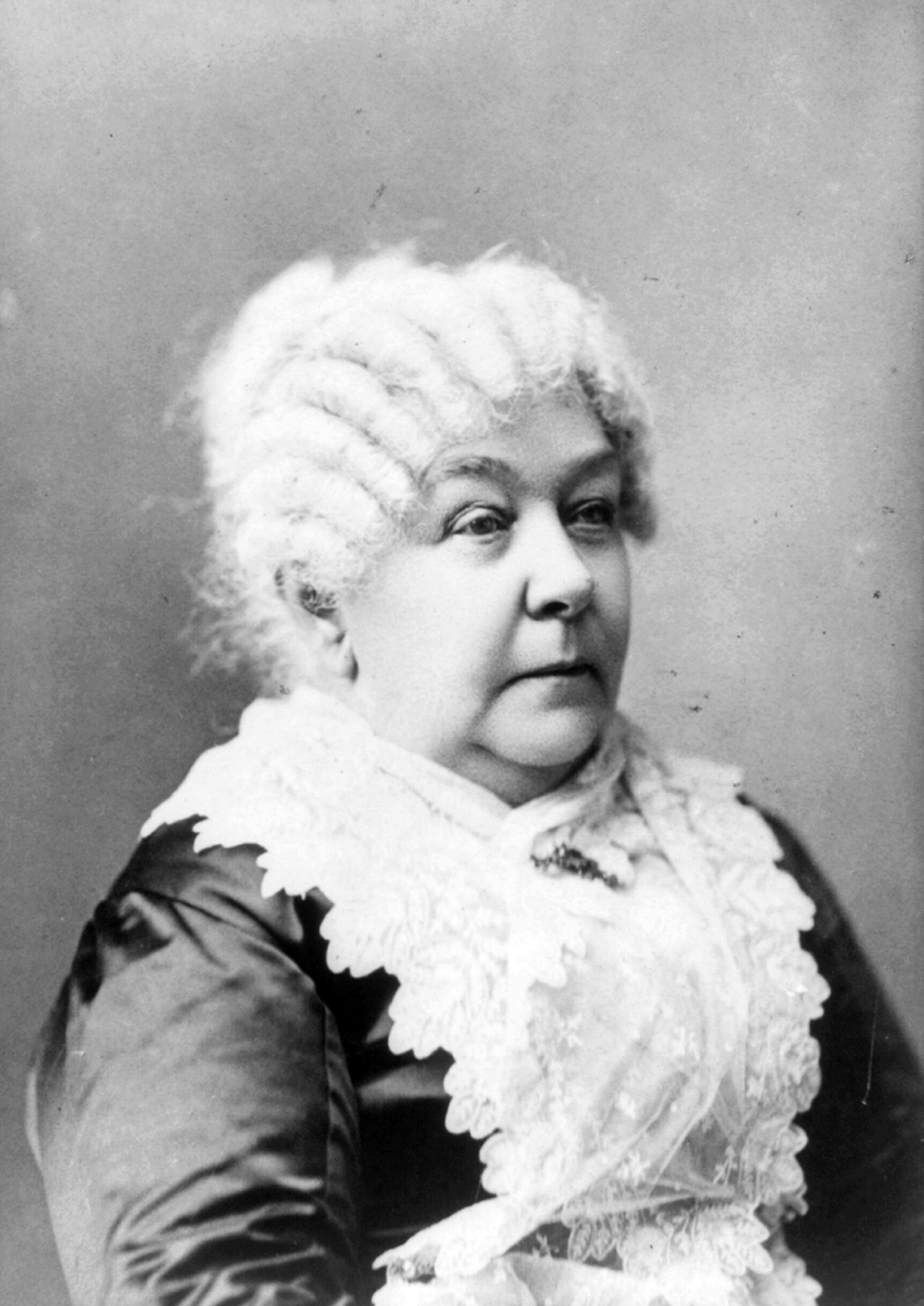 Elizabeth Cady Stanton (1815-1902), pictured in 1910.Stanton helped to organize the 1848 Women's Rights Convention at Seneca Falls and to write the Declaration of Sentiments, one of the founding documents of American women's rights.