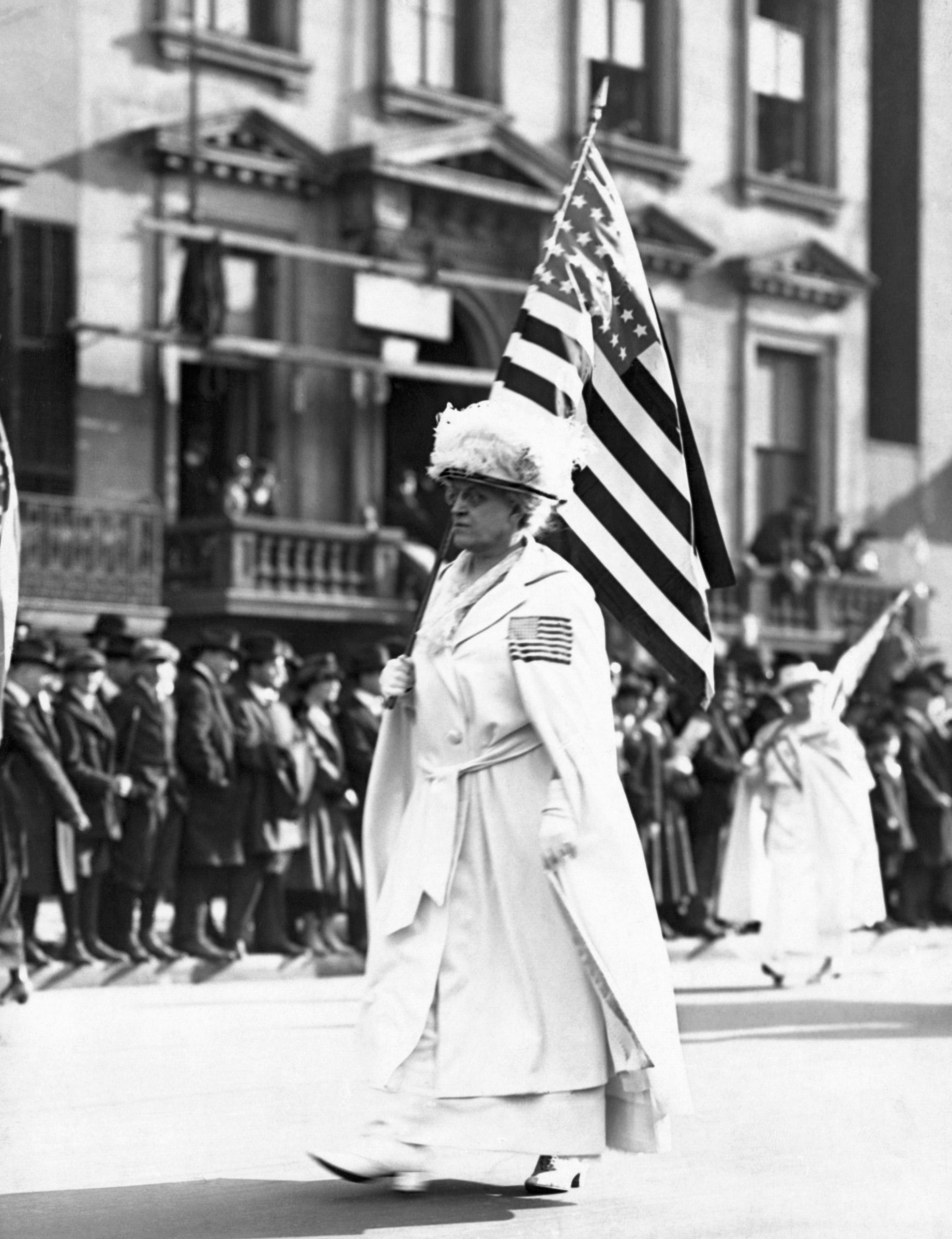 Carrie Chapman Catt (1849-1947), taking part in a New York parade, in an undated photo.Catt was a leader of the National American Woman Suffrage Association and later founded of the League of Women Voters.