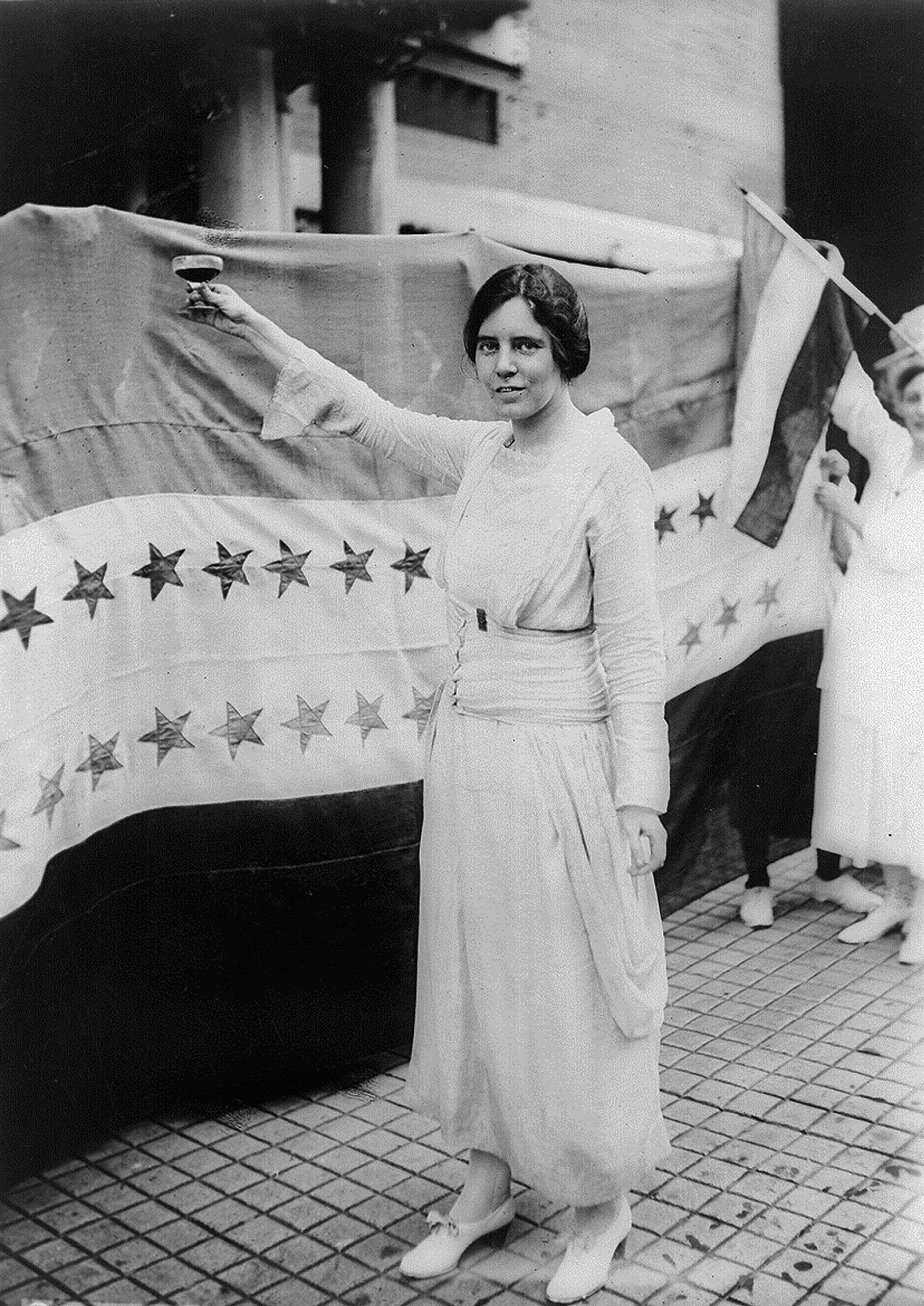 Alice Paul (1885-1977), pictured in 1920.Paul was a founder, in 1916, of the National Woman's Party, a group that supported suffrage through federal channels rather than state action.