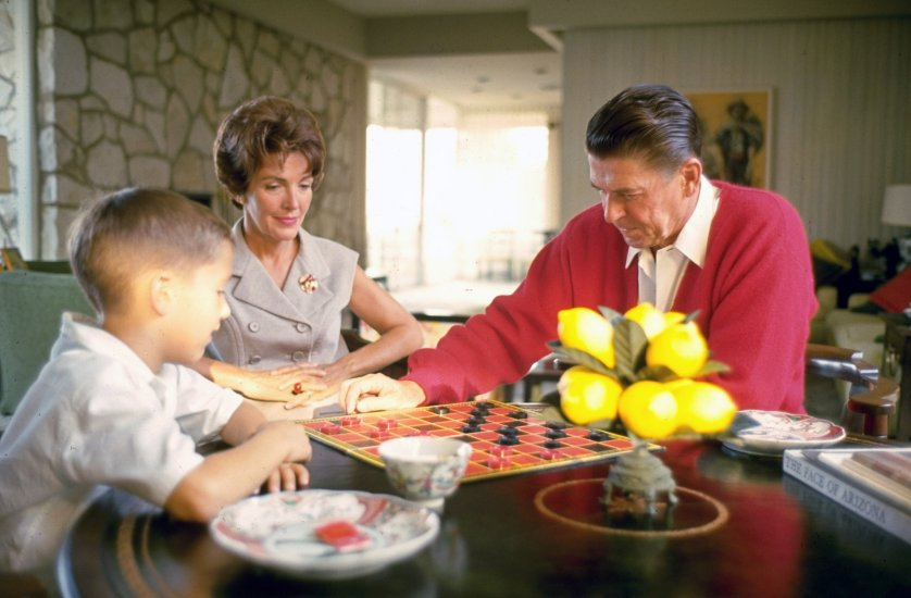 Nancy Reagan at home with her husband, California Governor Candidate Ronald Reagan and son Ronnie, 1965.
