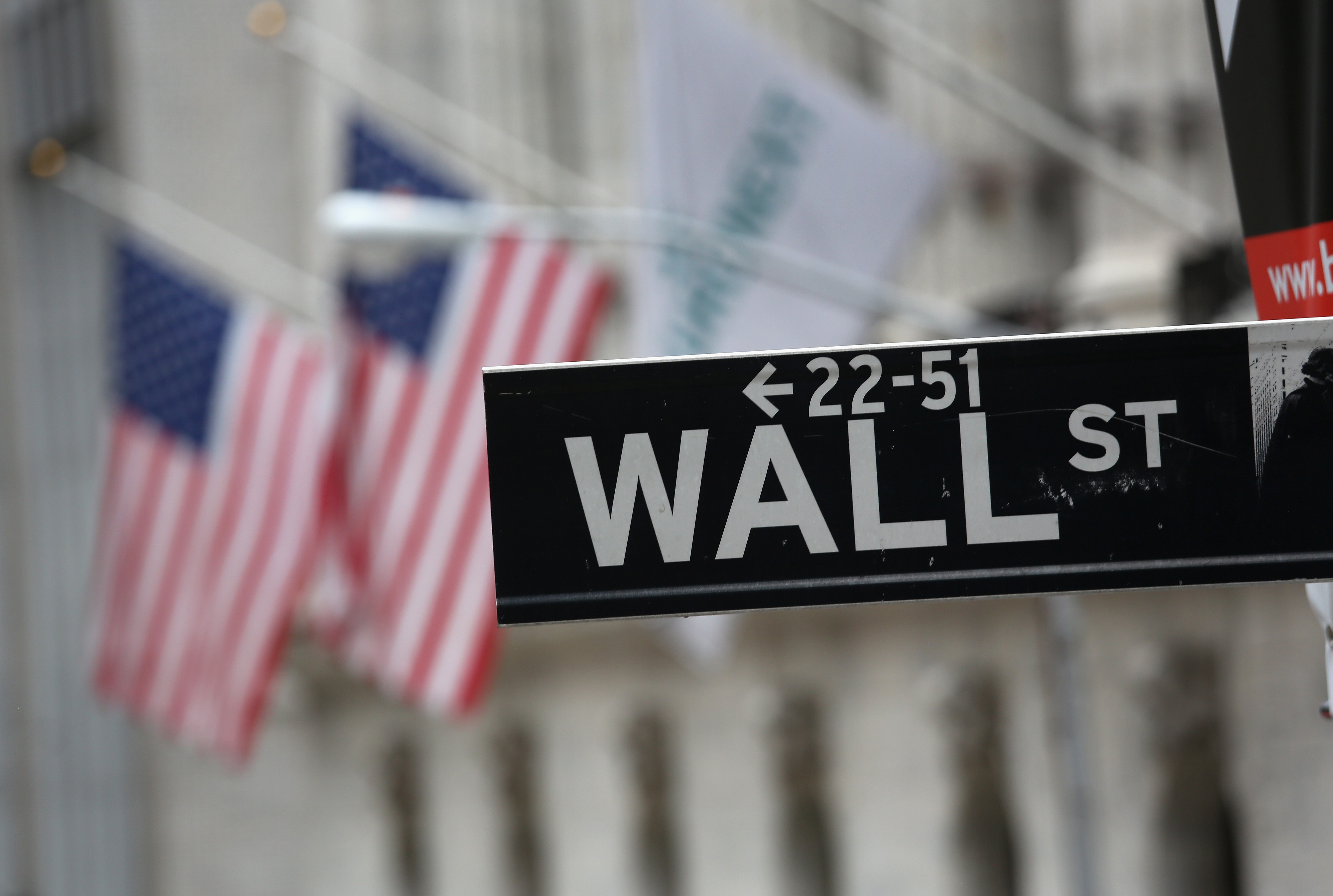 A street sign for Wall Street hangs outside the New York Stock Exchange on September 16, 2013 in New York City.=