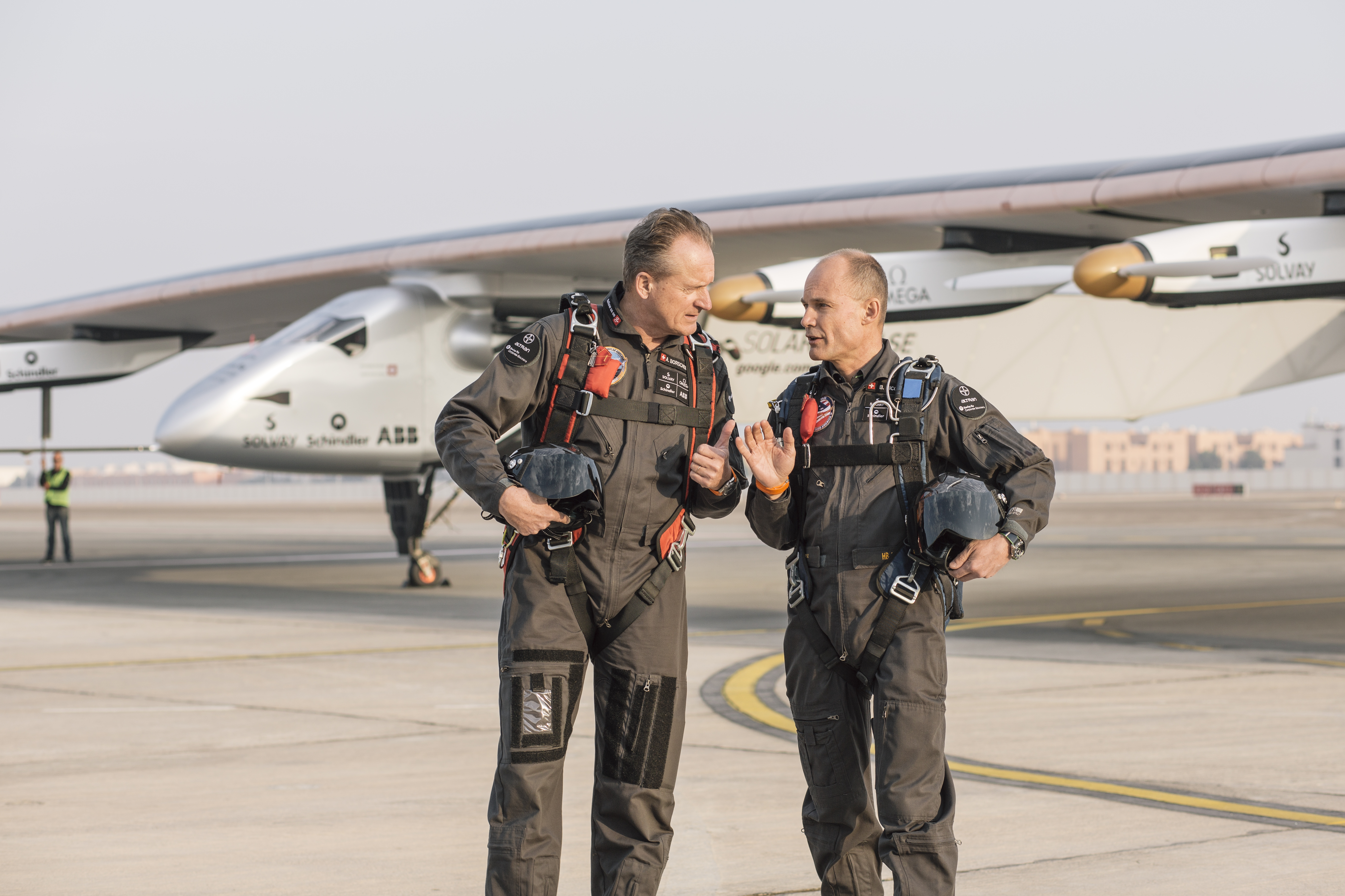André Borschberg, left, and Bertrand Piccard undertake preparation flights with Solar Impulse II in Abu Dhabi in January                                          Abu Dhabi, UAE: After the succesful unloading of Solar Impulse 2 from the cargo, today the Plane is being reassembled in order to get ready for the test flights. The attempt to make the first round-the-world solar-powered flight is scheduled to start in March 2015 from Abu Dhabi. Solar Impulse will fly, in order, over the Arabian Sea, India, Myanmar, China, the Pacific Ocean, the United States, the Atlantic Ocean and Southern Europe or Northern Africa before closing the loop by returning to the departure point. Landings will be made every few days to change pilots and organize public events for governments, schools and universities.