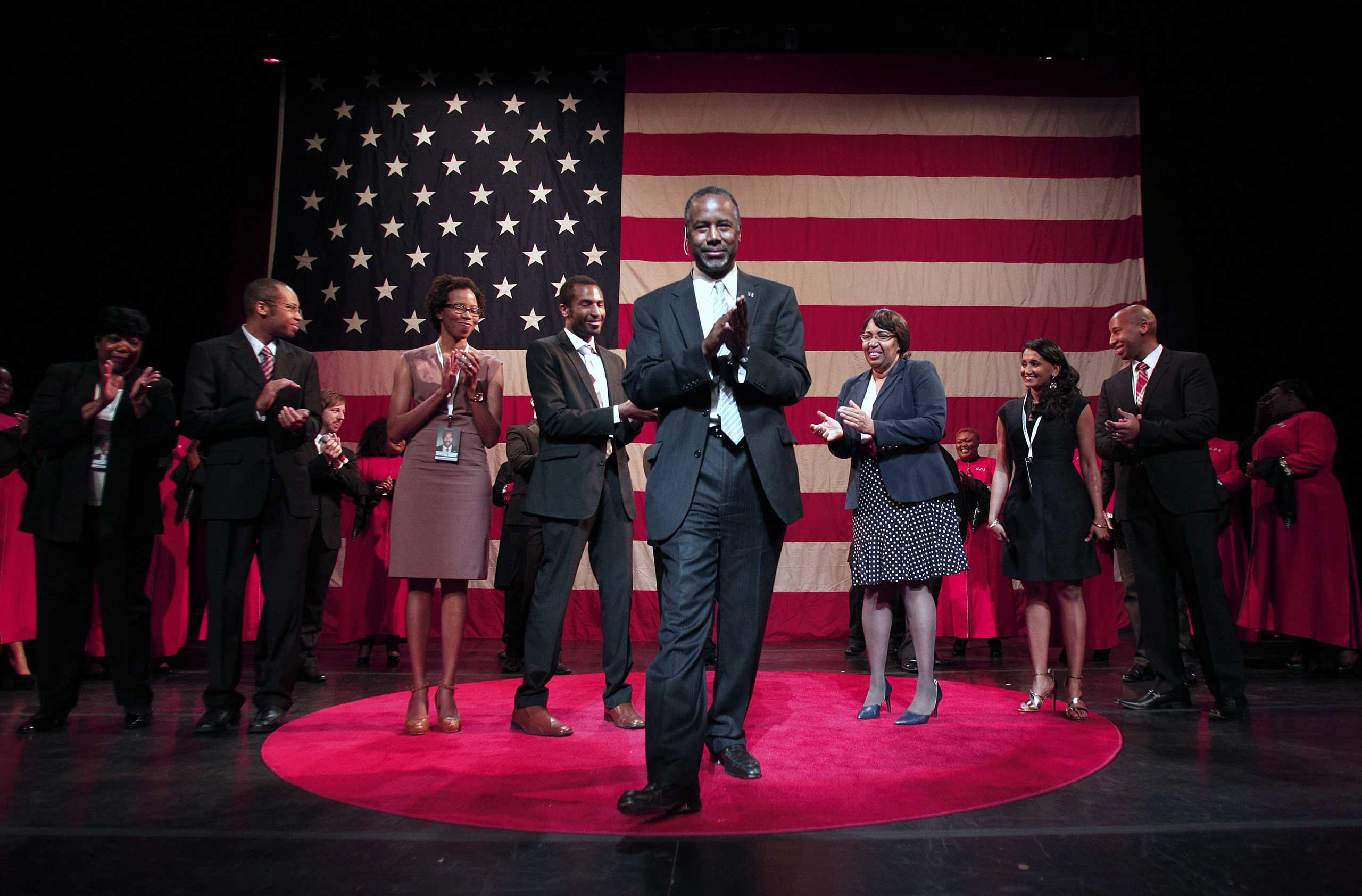 "Retired neurosurgeon Ben Carson announced his bid for the Republican nomination at the Music Hall Center for the Performing Arts May 4, 2015 in Detroit, Michigan. The launch featured a gospel choir covering Eminem's ""Lose Yourself."""
