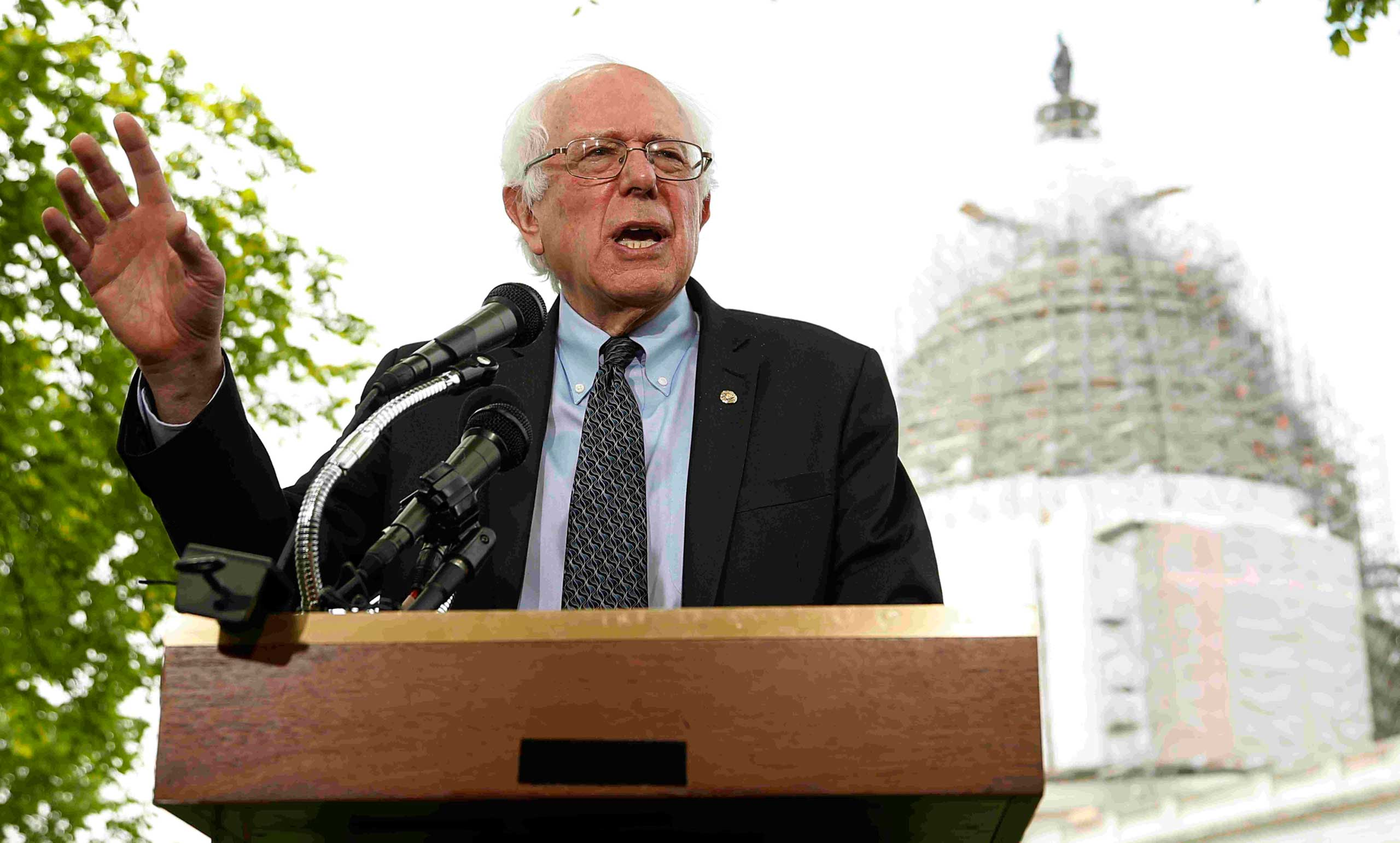 Vermont Sen. Bernie Sanders announced his bid for the Democratic nomination across the street from the U.S. Capitol on April 30, 2015. The backdrop was unusual, since most candidates rail against Washington.