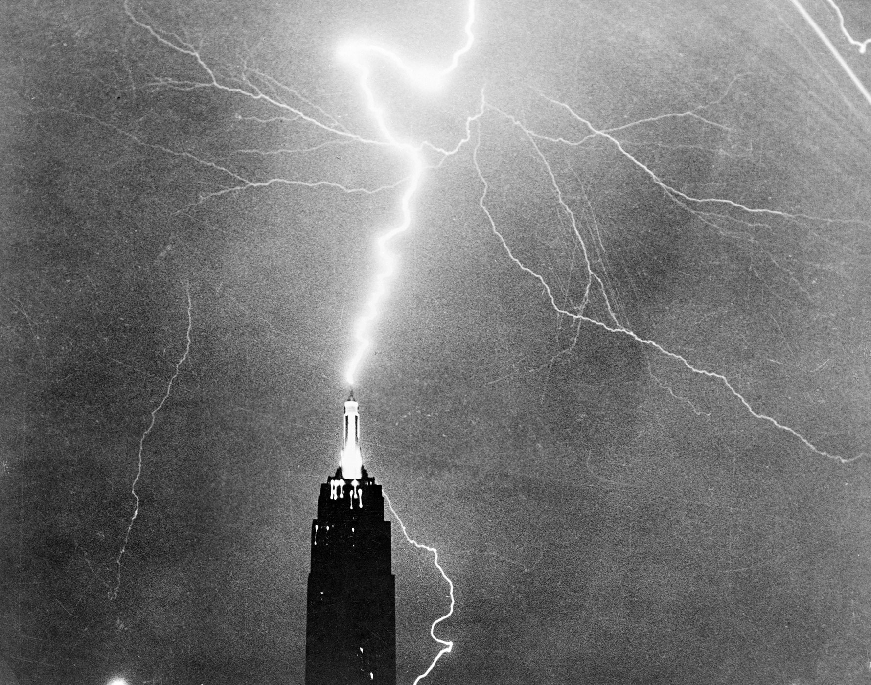 Lightning strikes the Empire State Building in New York City.