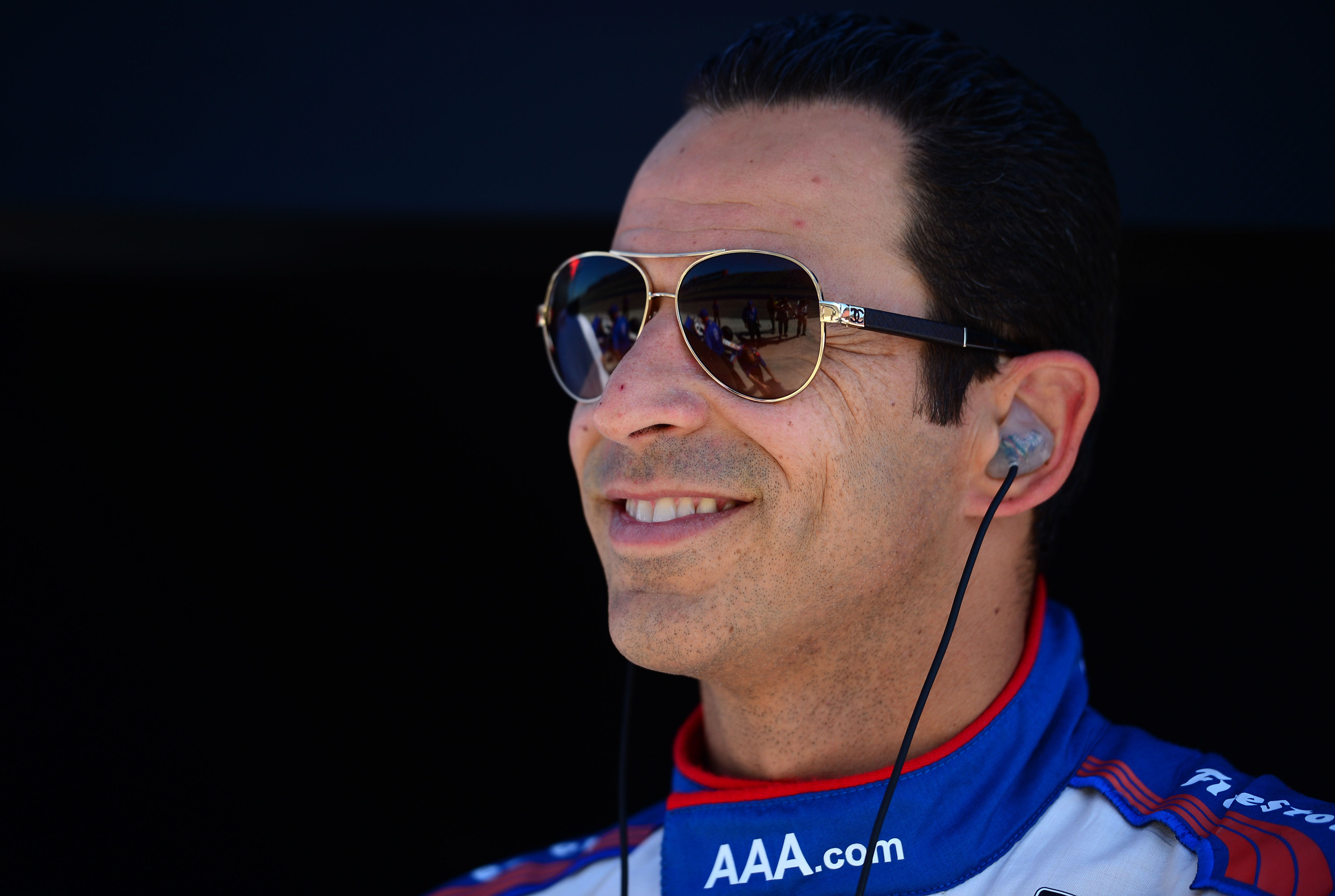 Helio Castroneves of Brazil driver of the #3 Team Penske Dallara Chevrolet  during practice  at the Auto Club Speedway on August 29, 2014 in Fontana, California.