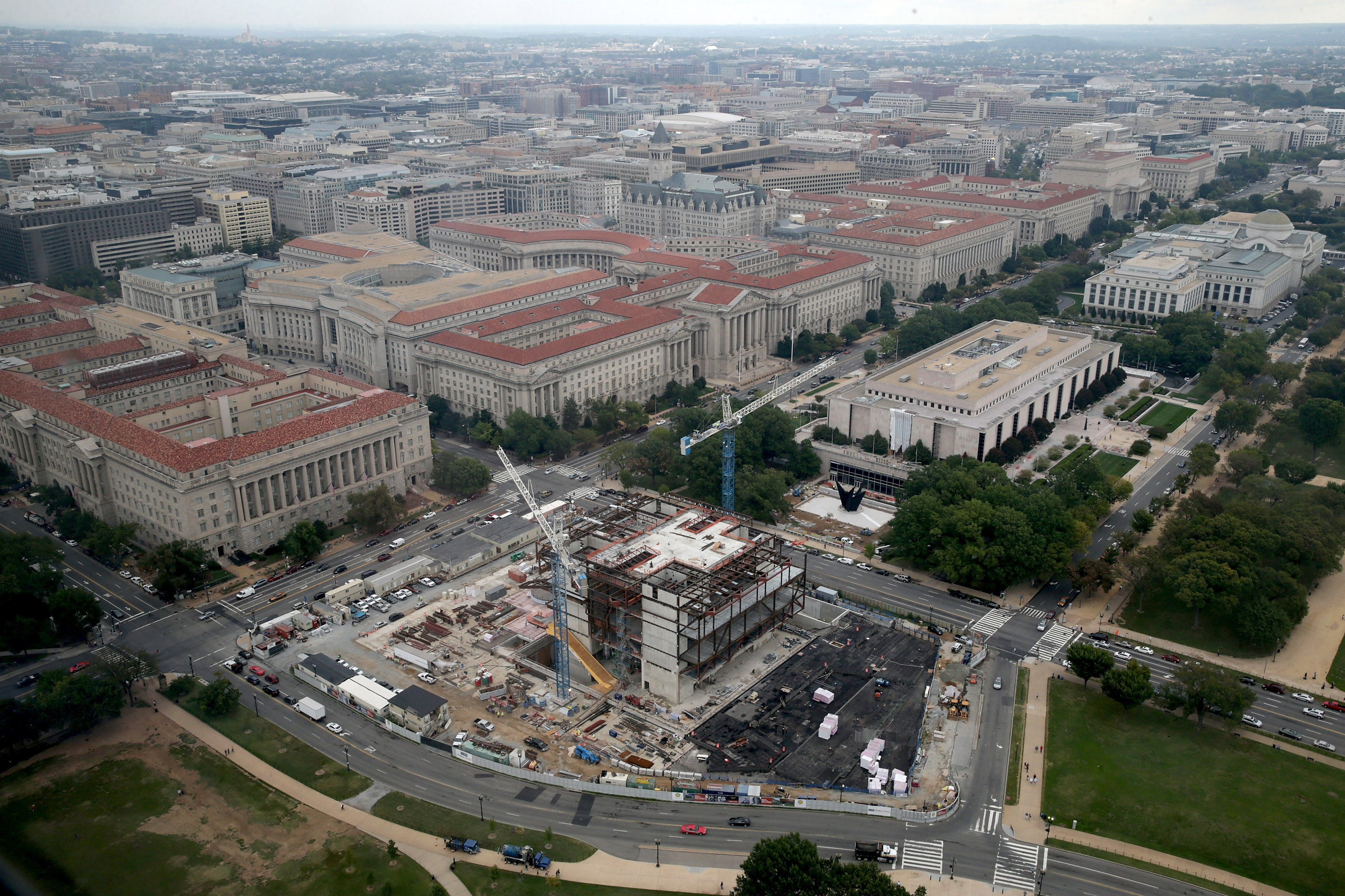 Construction continues on the National Museum of African American History and Culture on the National Mall, Oct. 1, 2014 in Washington, DC.