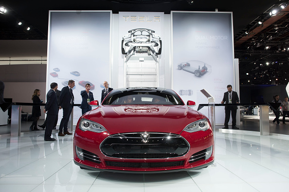 A Tesla Model S P85D vehicle is displayed at the 2015 North American International Auto Show (NAIAS) in Detroit on Jan. 12, 2015.