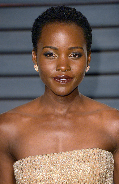 Lupita Nyong'o arrives at the 2015 Vanity Fair Oscar Party in Beverly Hills on Feb. 22, 2015.