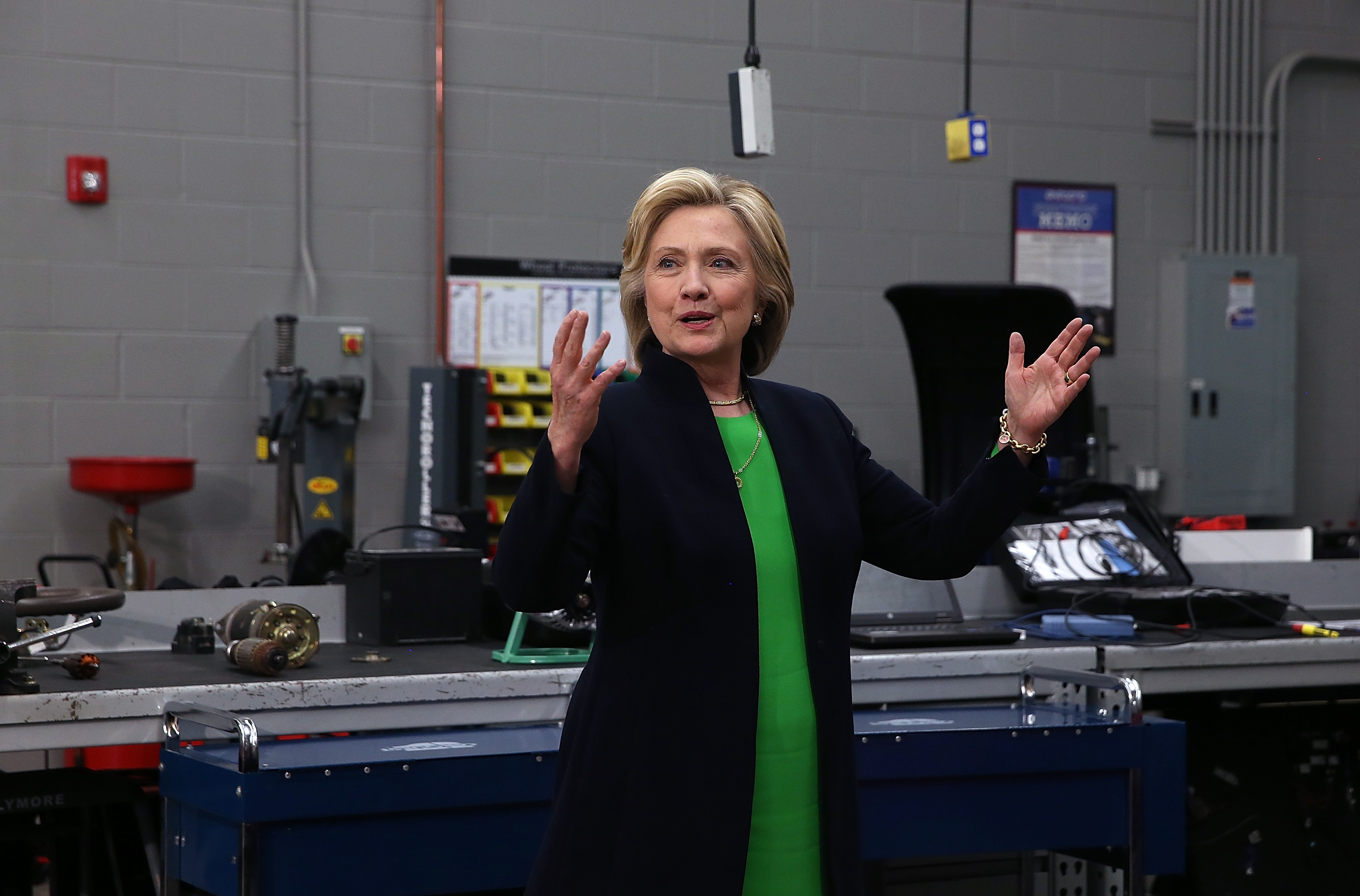 """Monticello, IA - April 14: At a community college in Iowa, Clinton said exactly what the left wanted her to say. """"There's something wrong when hedge fund managers pay lower tax rates than nurses or the truckers that I saw on I-80 as I was driving here,"""" Clinton said."""