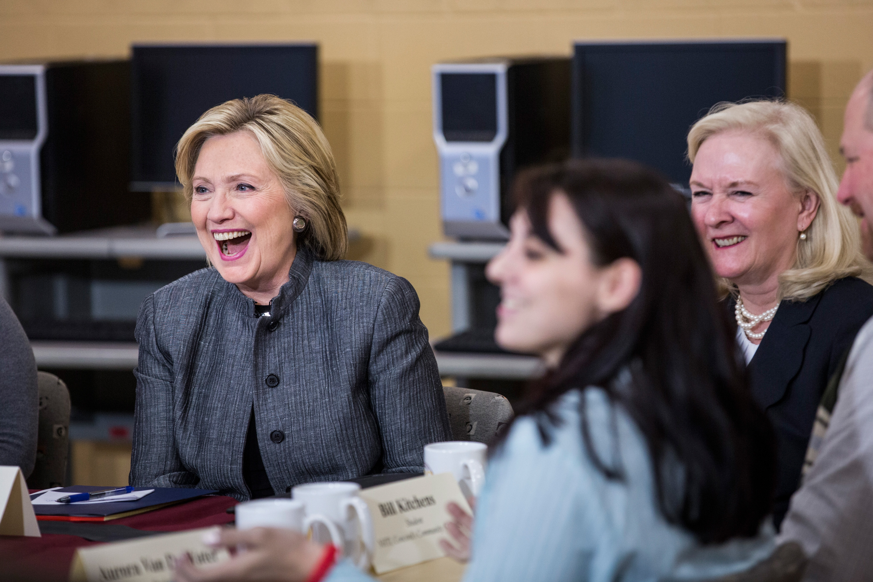 """Concord, N.H. - April 21:  Clinton got a chance to talk student debt with young women at a community college in Concord, New Hampshire. """"You cannot expect people to have that much debt and then be expected to pay it off,"""" she said."""