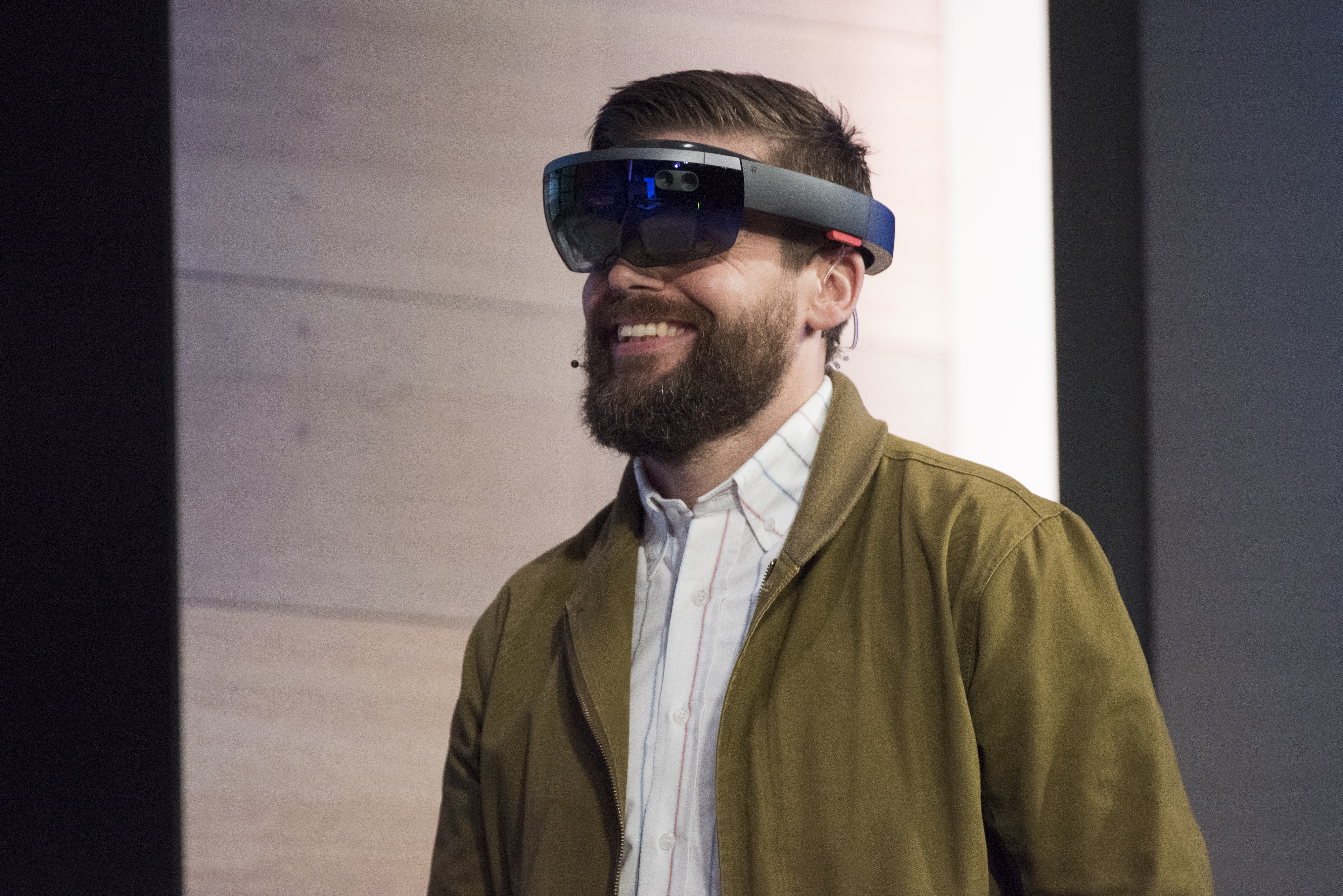 The Microsoft Corp. HoloLens augmented reality headset is demonstrated during a keynote session at the Microsoft Developers Build Conference in San Francisco, California, U.S., on Wednesday, April 29, 2015.