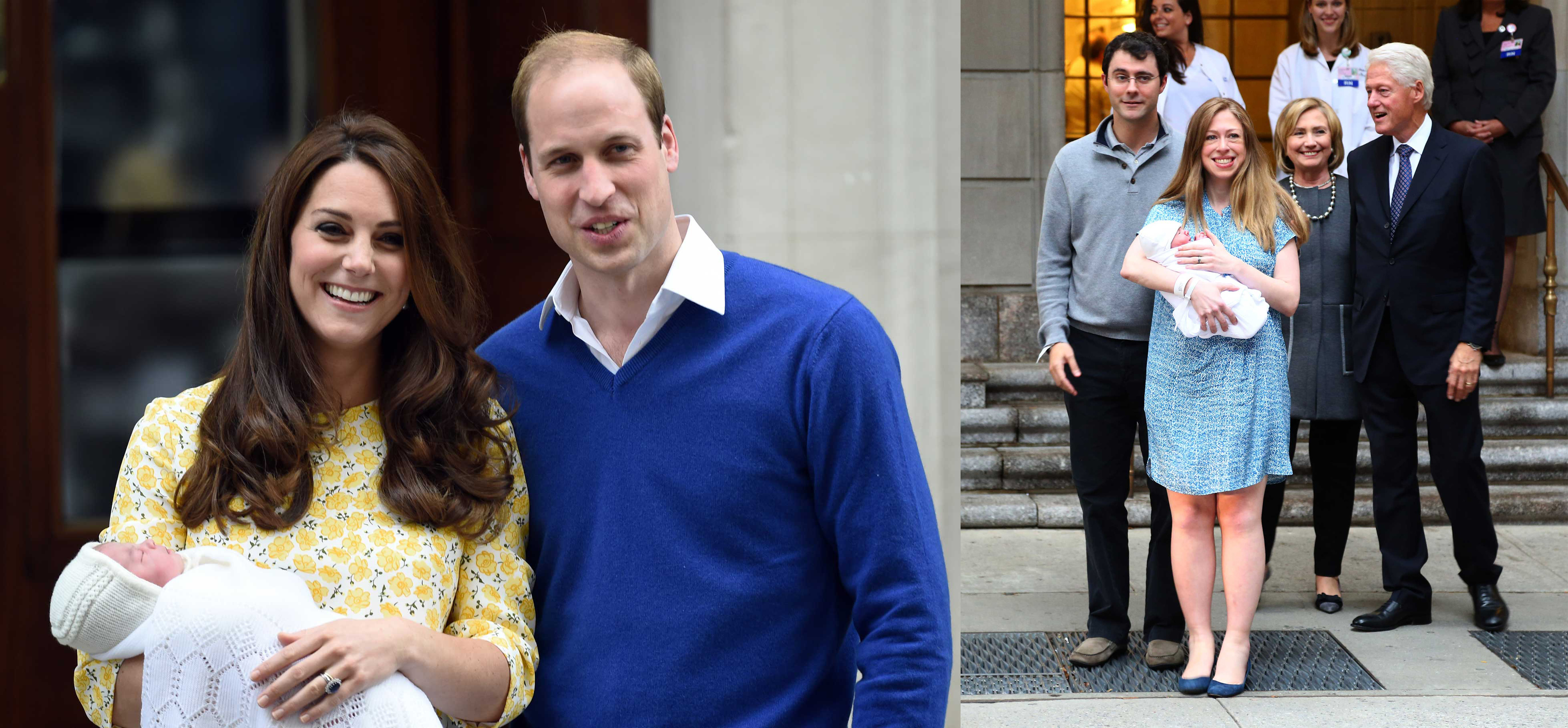 (L) Catherine Duchess of Cambridge and Prince William, Duke of Cambridge leave the Lindo Wing at St. Mary's Hospital  with their new born baby daughter. (R) Chelsea Clinton leaves Lenox Hill Hospital with her baby, Charlotte, husband Marc and parents, Bill and Hillary Clinton.