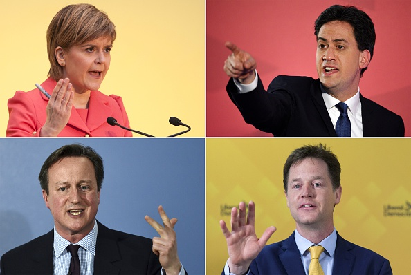 A combination picture shows Scottish National Party leader Nicola Sturgeon, Opposition Labour leader Ed Miliband, British Prime Minister and leader of the Conservatives David Cameron and Deputy Prime Minister and leader of the Liberal Democrats Nick Clegg campaigning in the run up to the UK elections.
