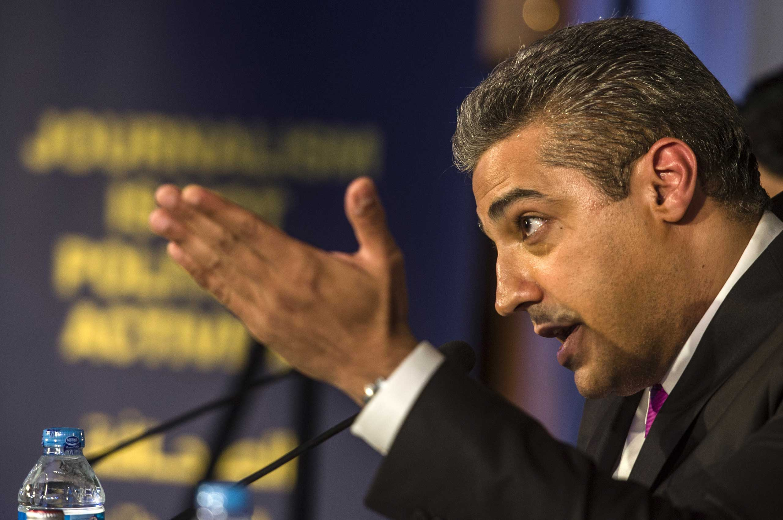 Egyptian-Canadian journalist Mohamed Fahmy, formerly with Al-Jazeera, attends a press conference in Cairo on May 11, 2015.