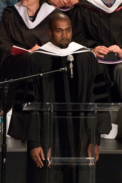 Kanye West receives an honorary doctorate at School Of Art Institute Of Chicago in Chicago on May 11, 2015.