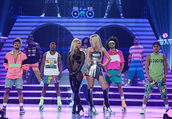 LAS VEGAS, NV - MAY 17:  Britney Spears and Iggy Azalea perform at the 2015 Billboard Music Awards on May 17, 2015 in Las Vegas, Nevada.  (Photo by Denise Truscello/Getty Images)