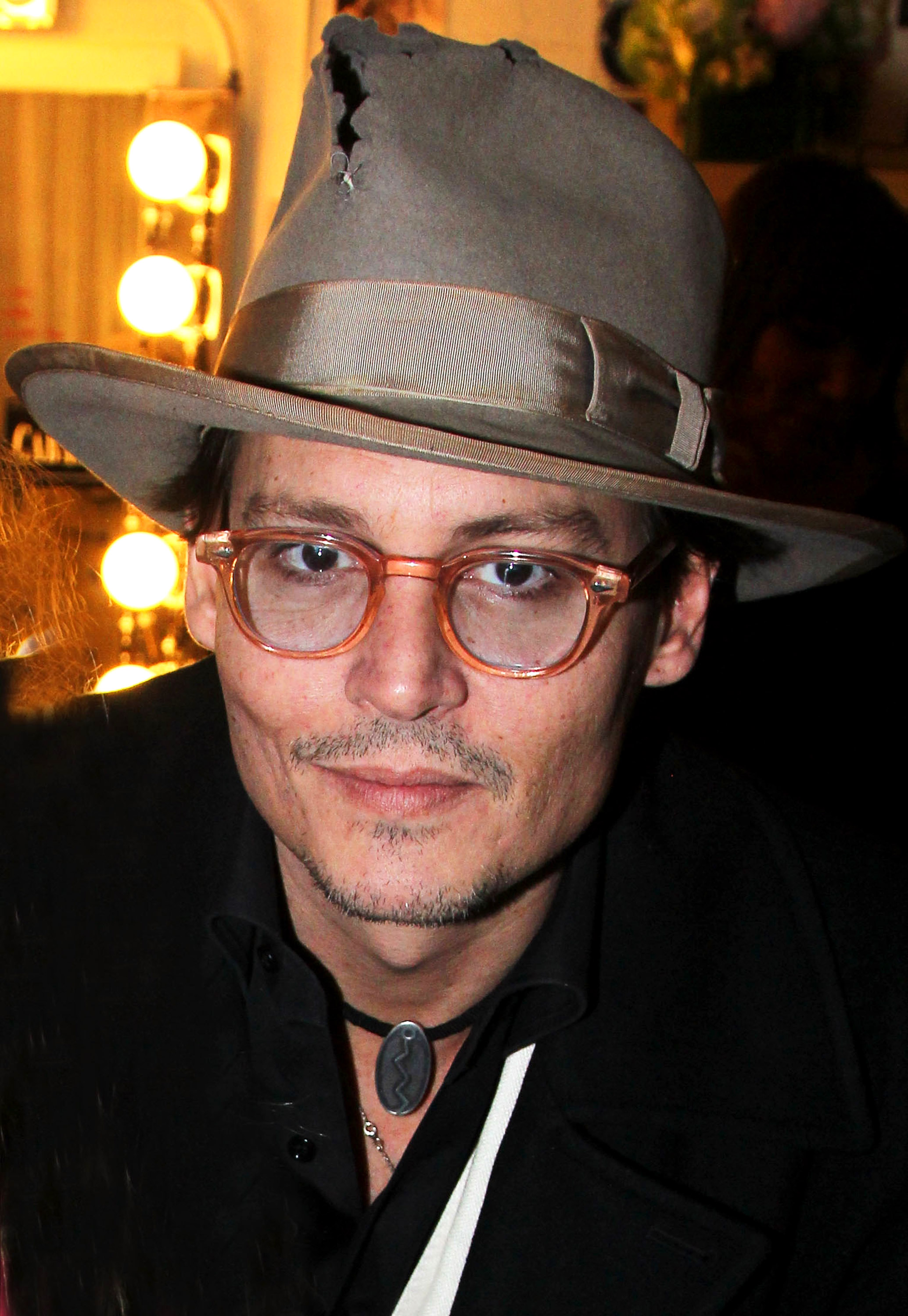 Johnny Depp poses backstage during the opening night of Cabaret on Broadway at Studio 54 on April 24, 2014, in New York City