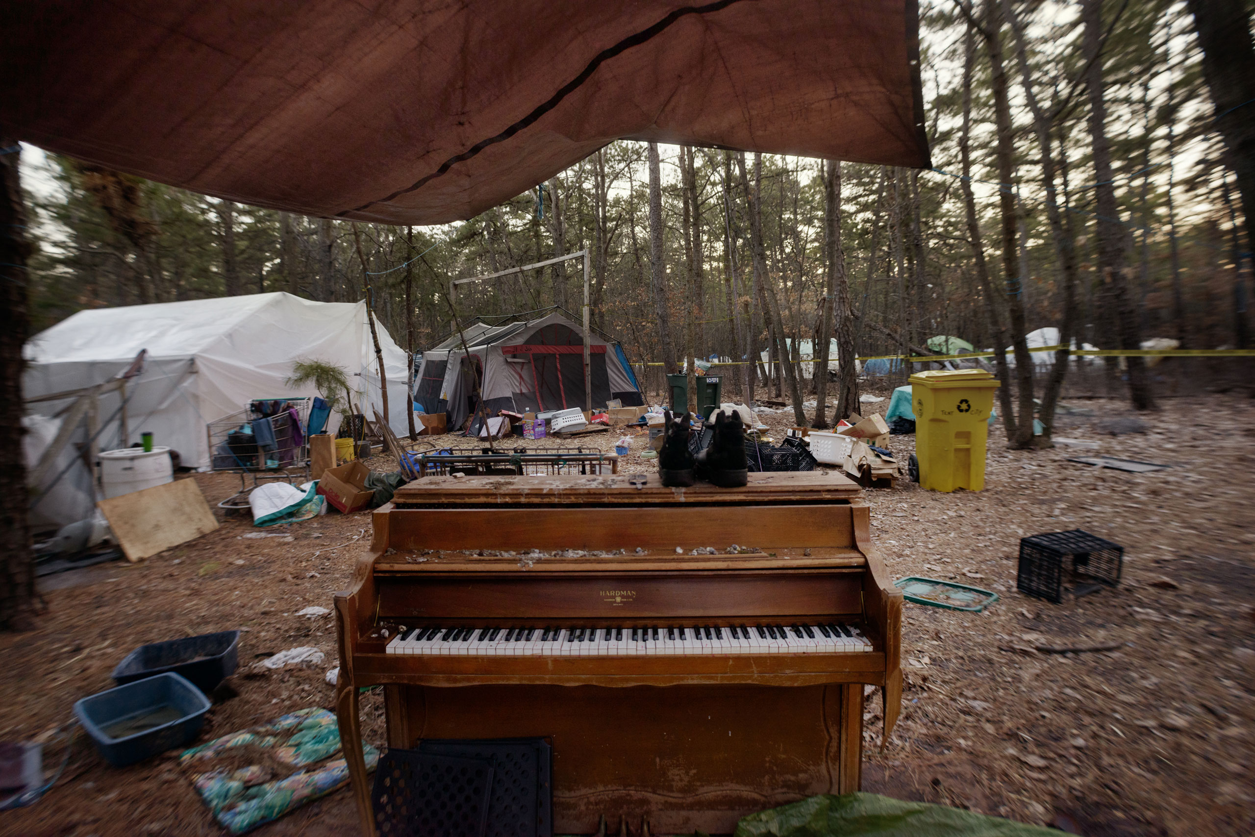 A piano in a makeshift courtyard in Tent City, March 20, 2014.