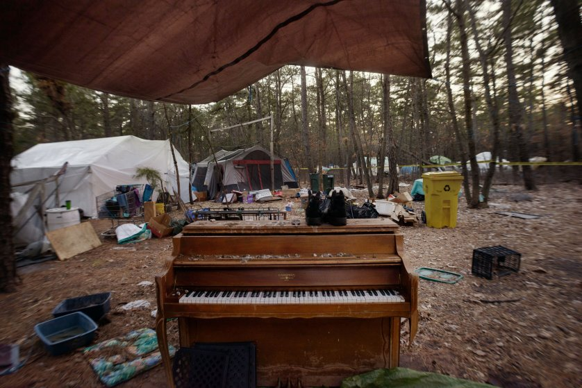 20  March  2014 - Tent City, Lakewood, New Jersey - A piano in a makeshift courtyard.