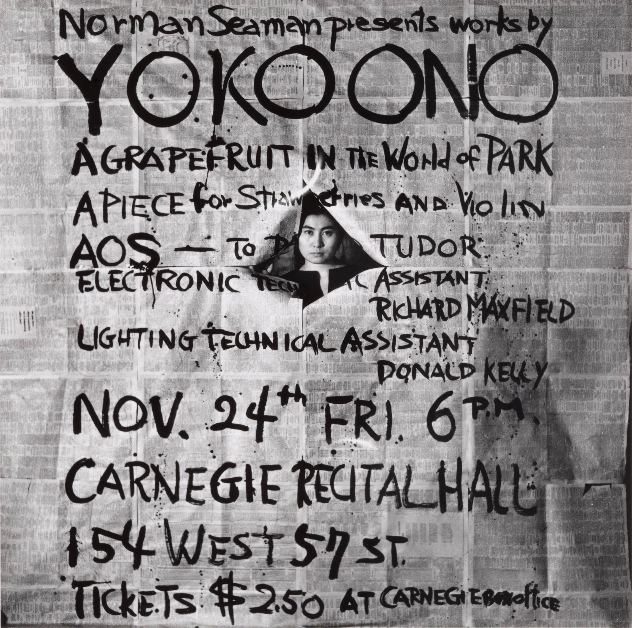 <i>Works by Yoko Ono</i> poster for Yoko Ono's performance at the Carnegie Recital Hall in New York on Nov. 24, 1961.