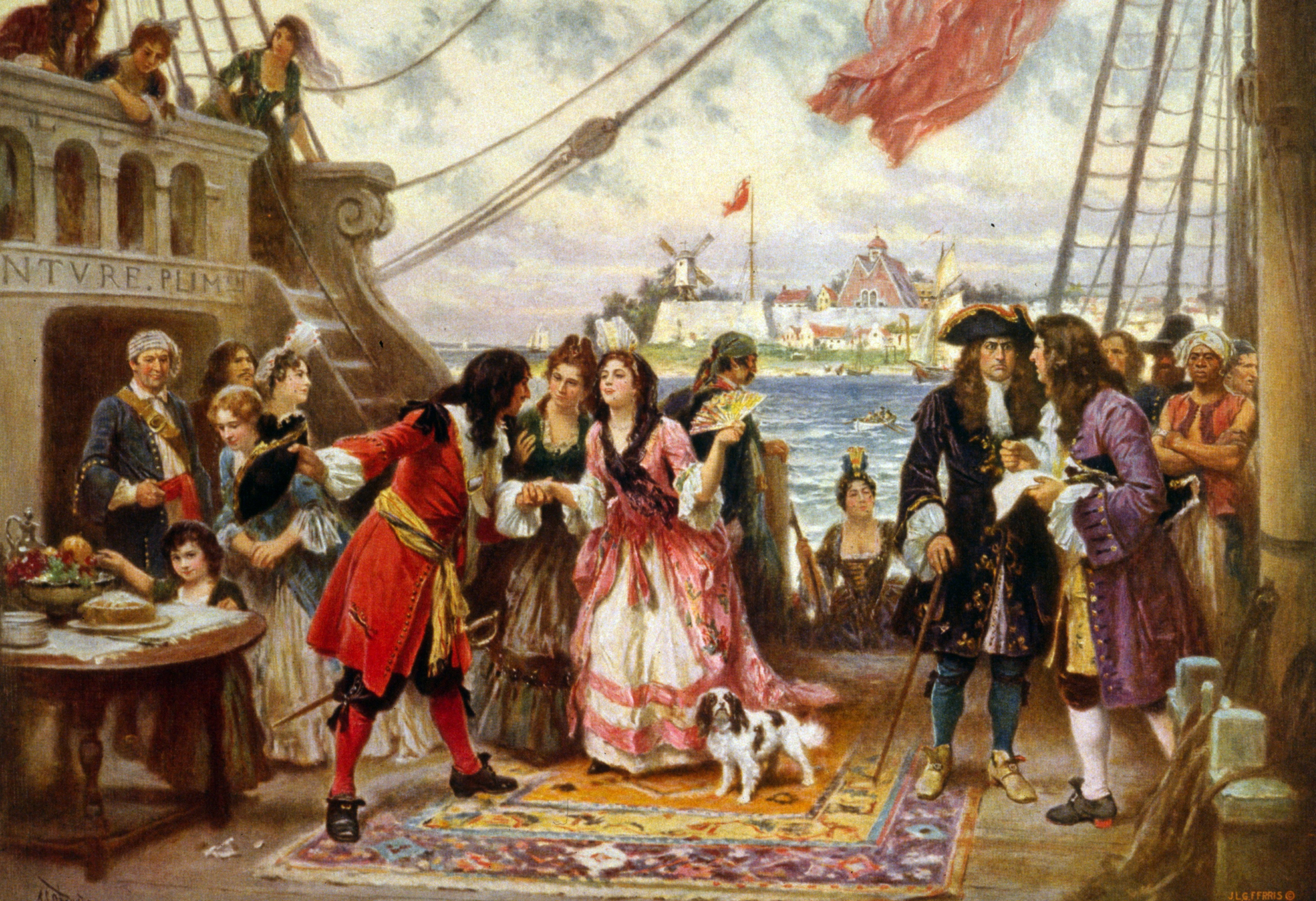 Captain Kidd in New York Harbour by Jean Leon Gerome Ferris. Captain William Kidd welcoming a young woman on board his ship; other men and women crowd the deck as another woman steps aboard.